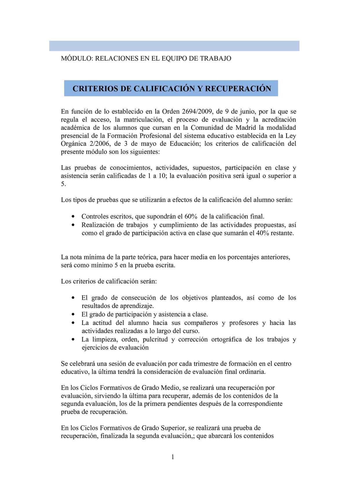 Calaméo Criterios De Calificación Del Módulo