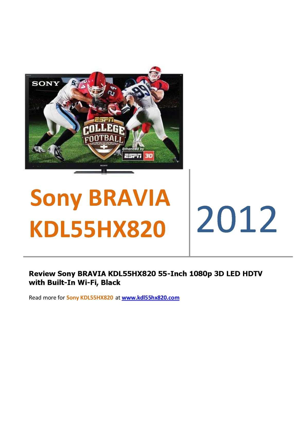 Calaméo - Sony BRAVIA KDL55HX820