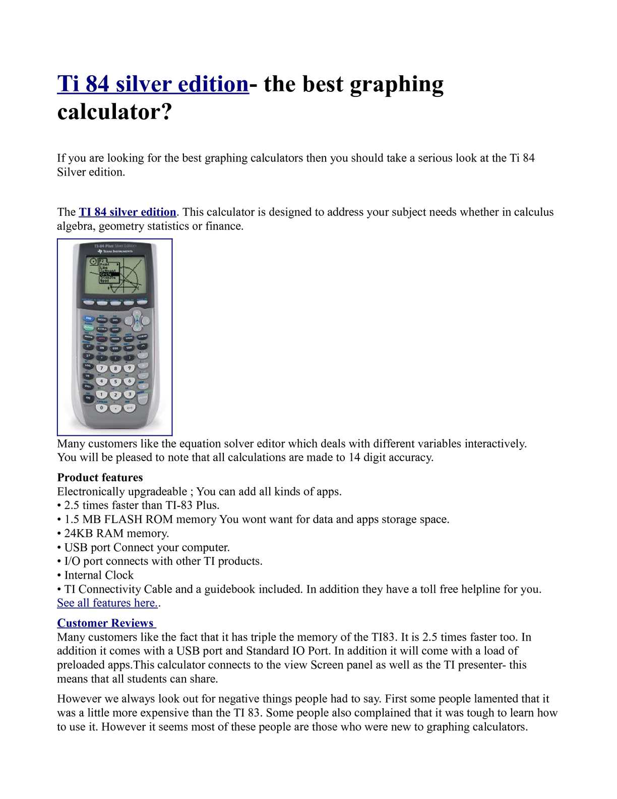 Calaméo - Ti 84 silver edition- the best graphing calculator