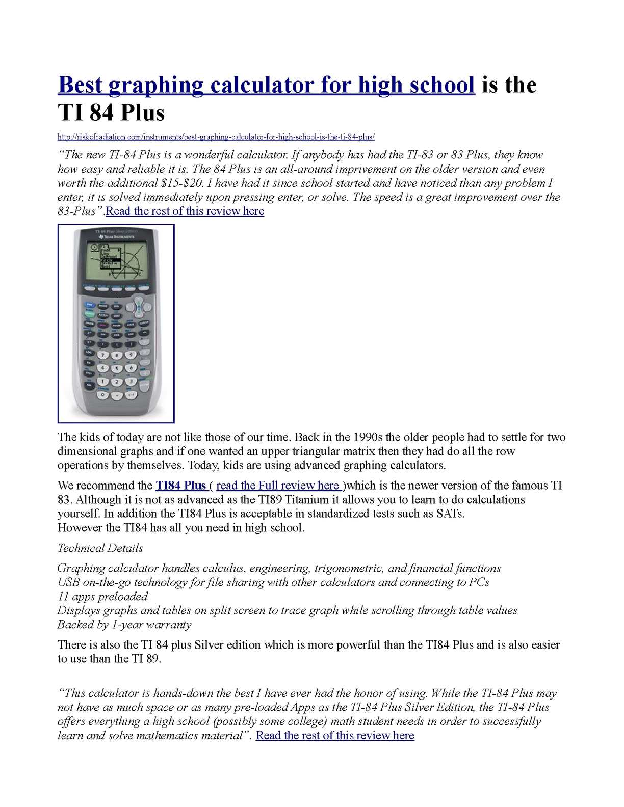 Ti 84 plus silver edition graphing calculator best buy | TI