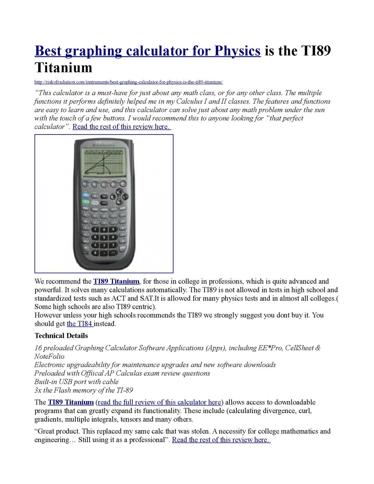 Calaméo - Best graphing calculator for Physics is the TI89