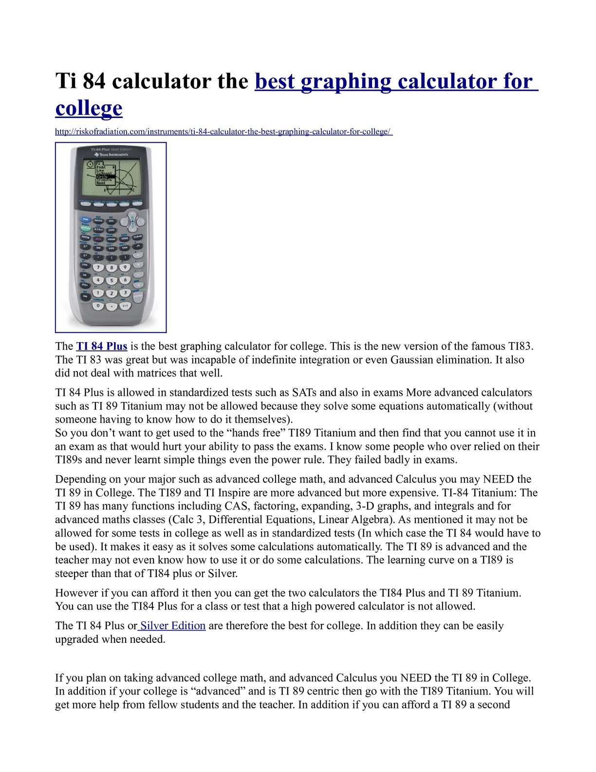 Calaméo - Ti 84 calculator the best graphing calculator for