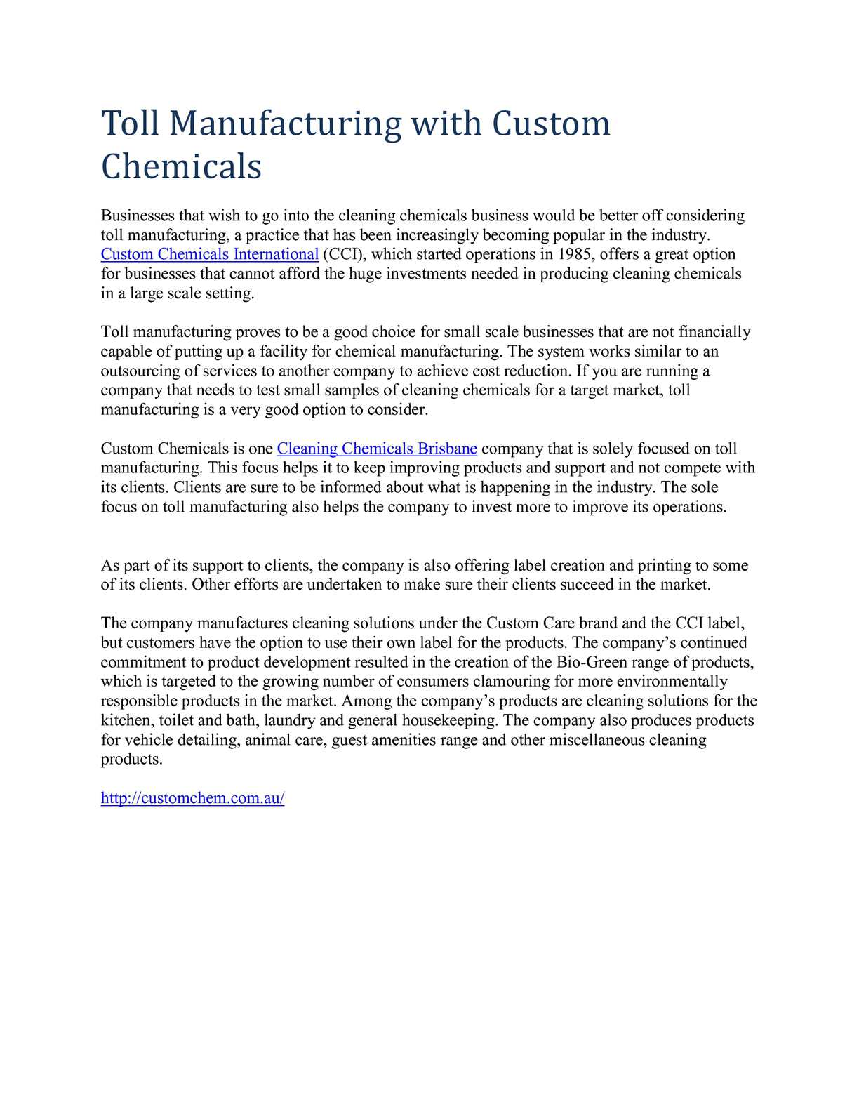Calaméo - Toll Manufacturing with Custom Chemicals