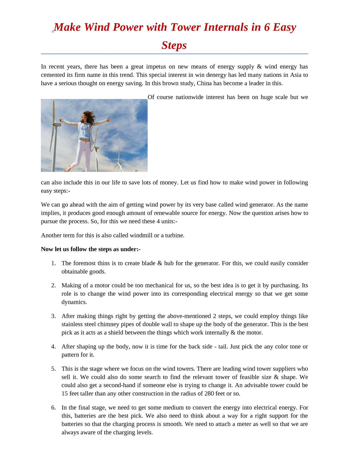 Calaméo - Make Wind Power with Tower Internals in 6 Easy Steps