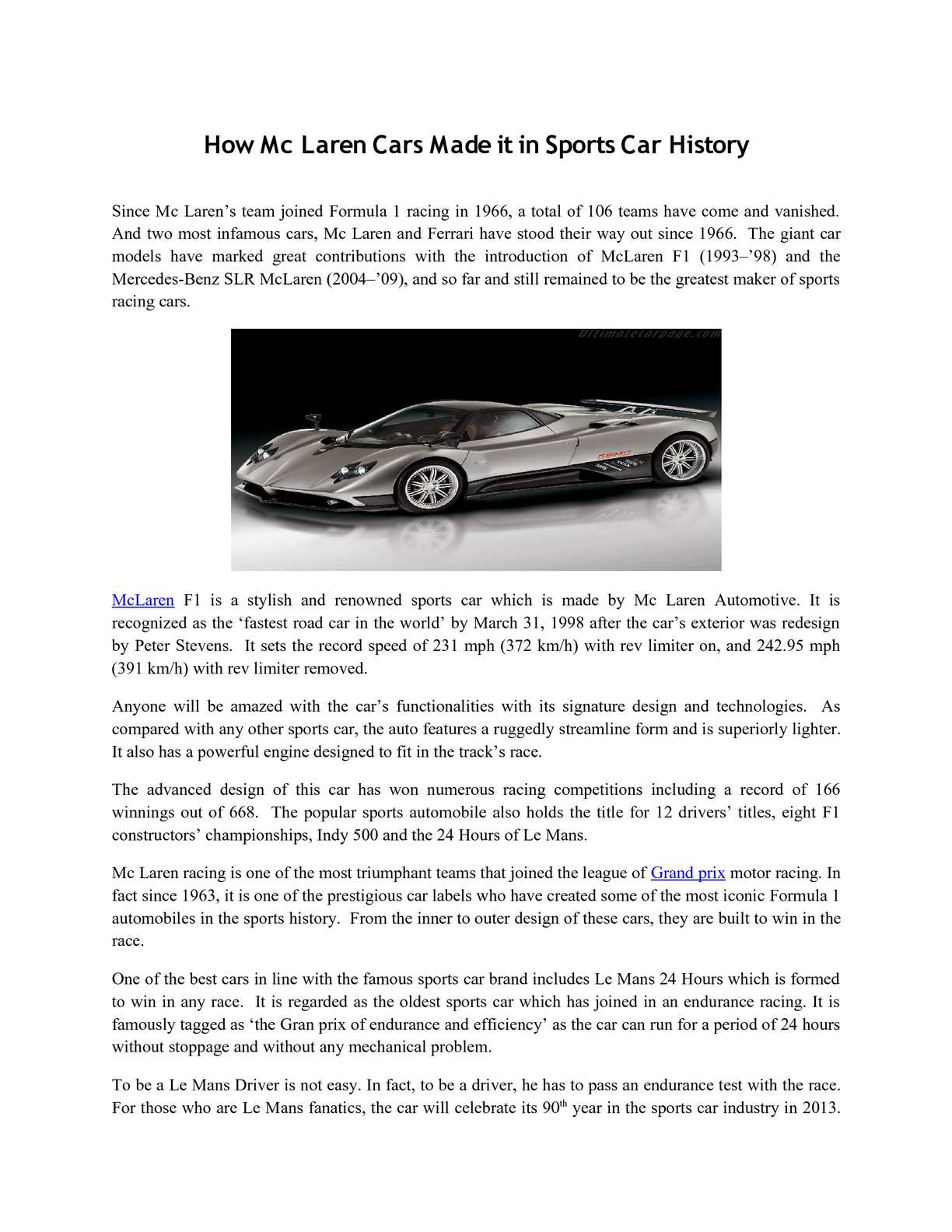 Calaméo - How Mc Laren Cars Made it in Sports Car History