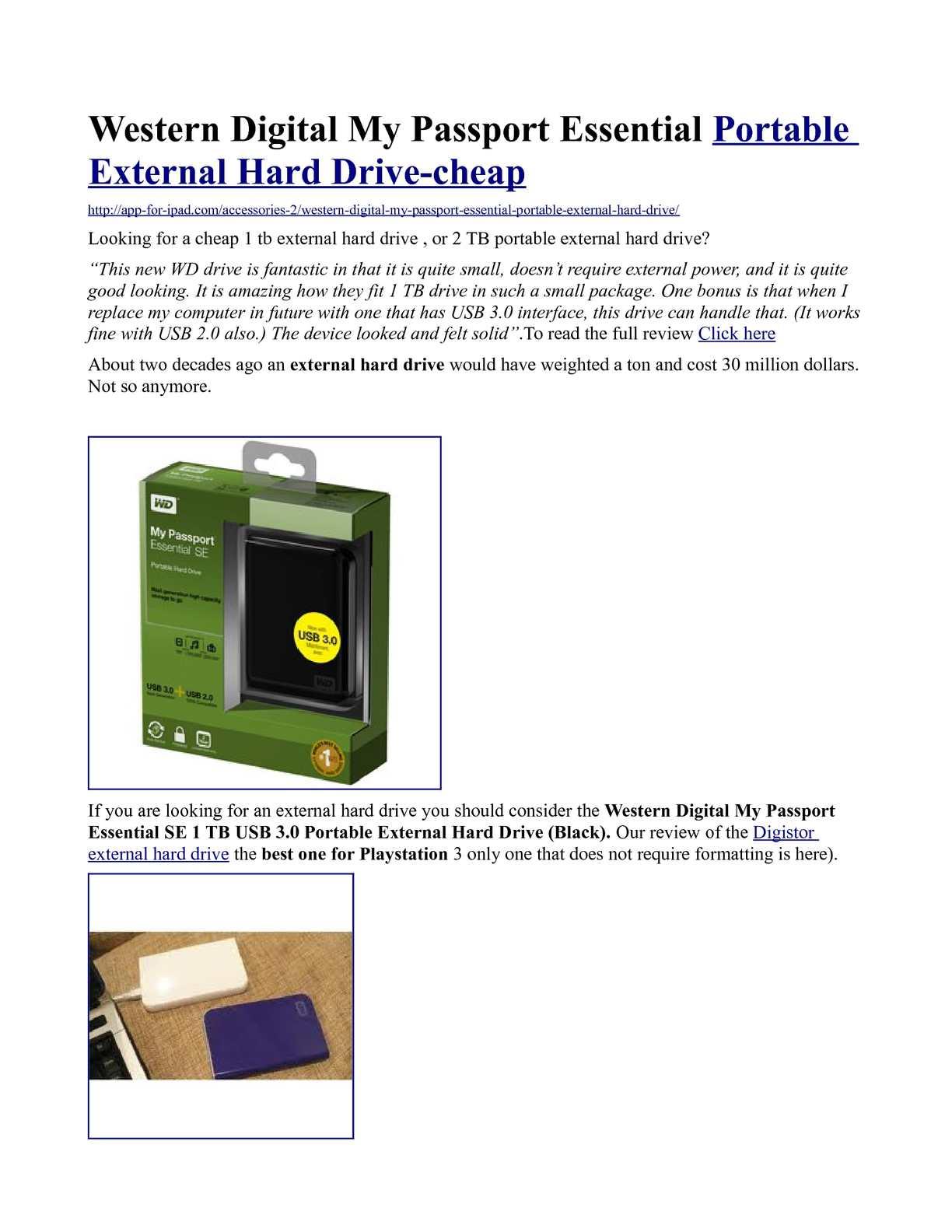 USB Cable Western Digital My Passport Essential SE 1TB External Hard Drive