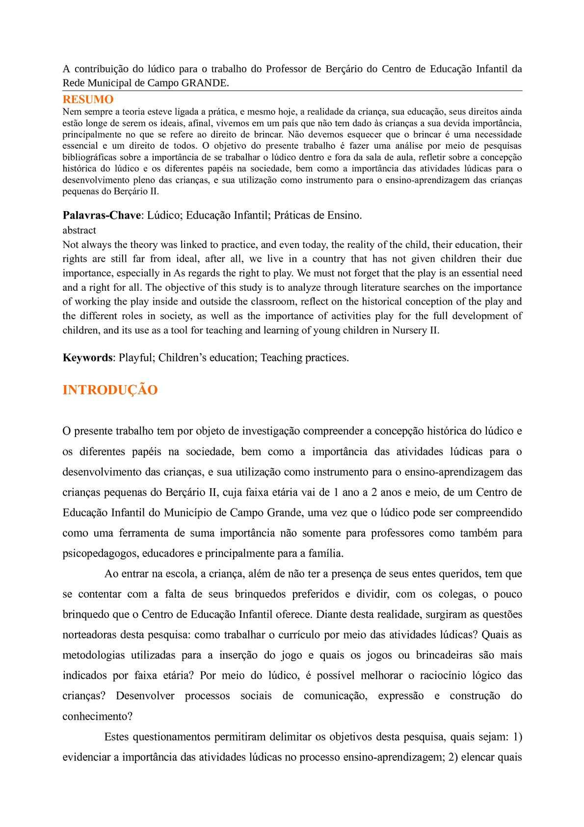 dcd54197a00 Calaméo - A contribuição do lúdico para o trabalho do Professor de Berçário  do Centro de Educação Infantil da Rede Municipal de Campo GRANDE
