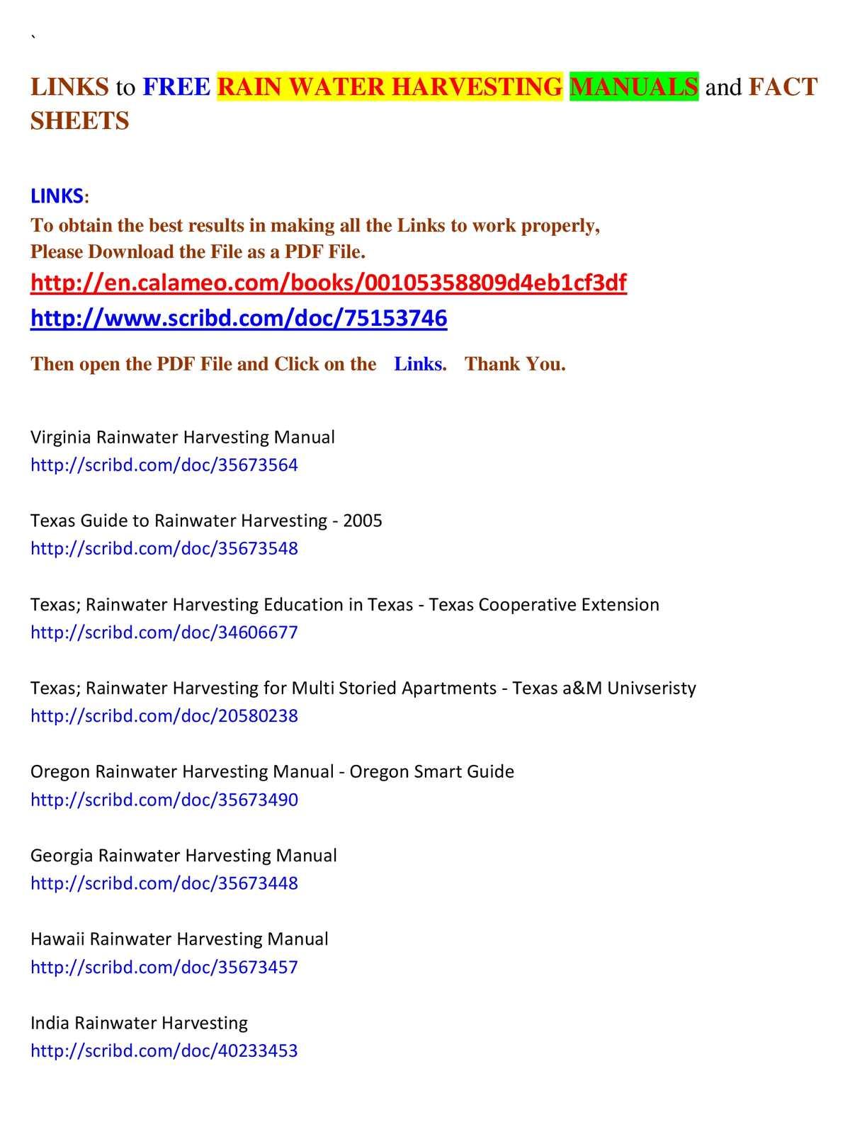 Calameo Free Rain Water Harvesting Manuals And Fact Sheets
