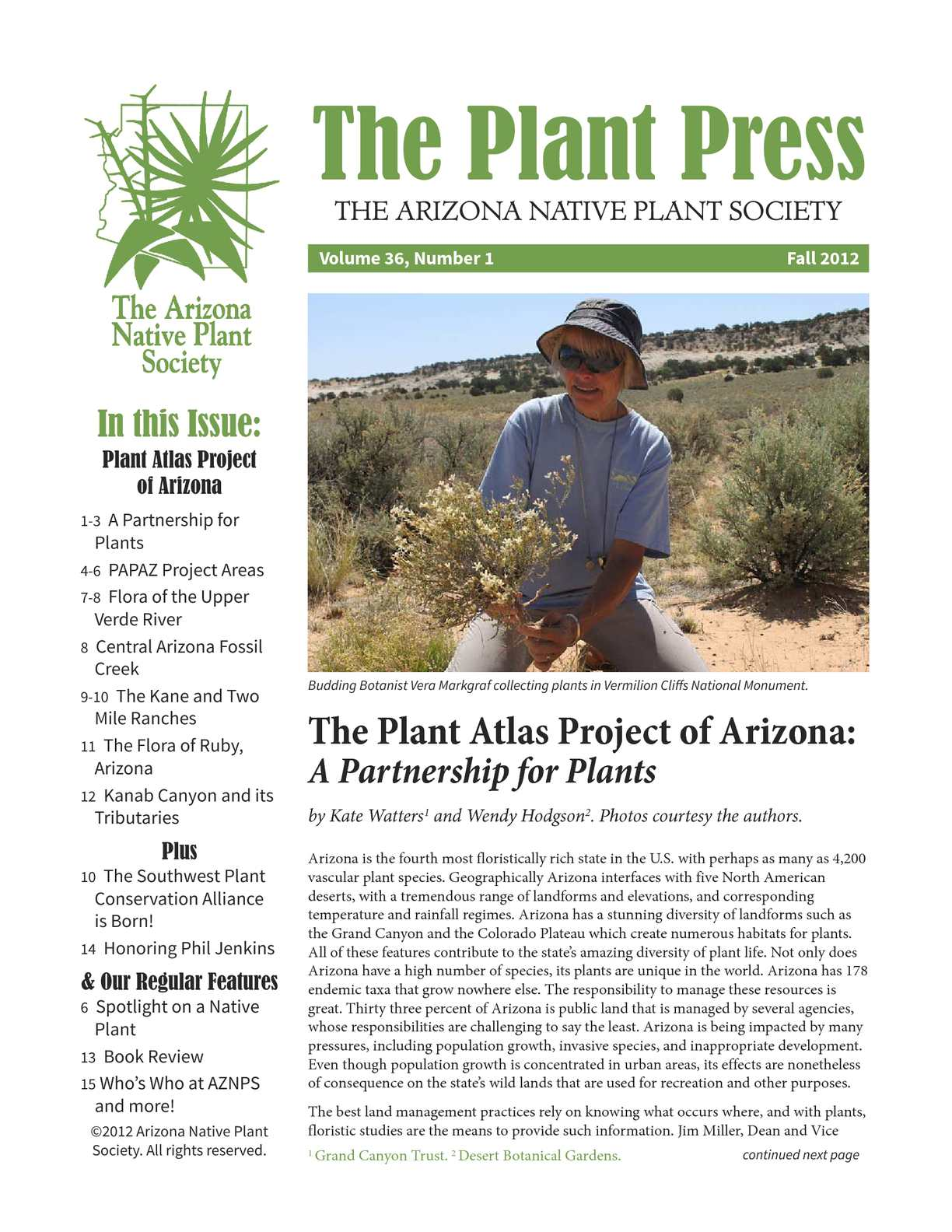 Calameo Fall 2012 The Plant Press Arizona Natiave Plant Soceity