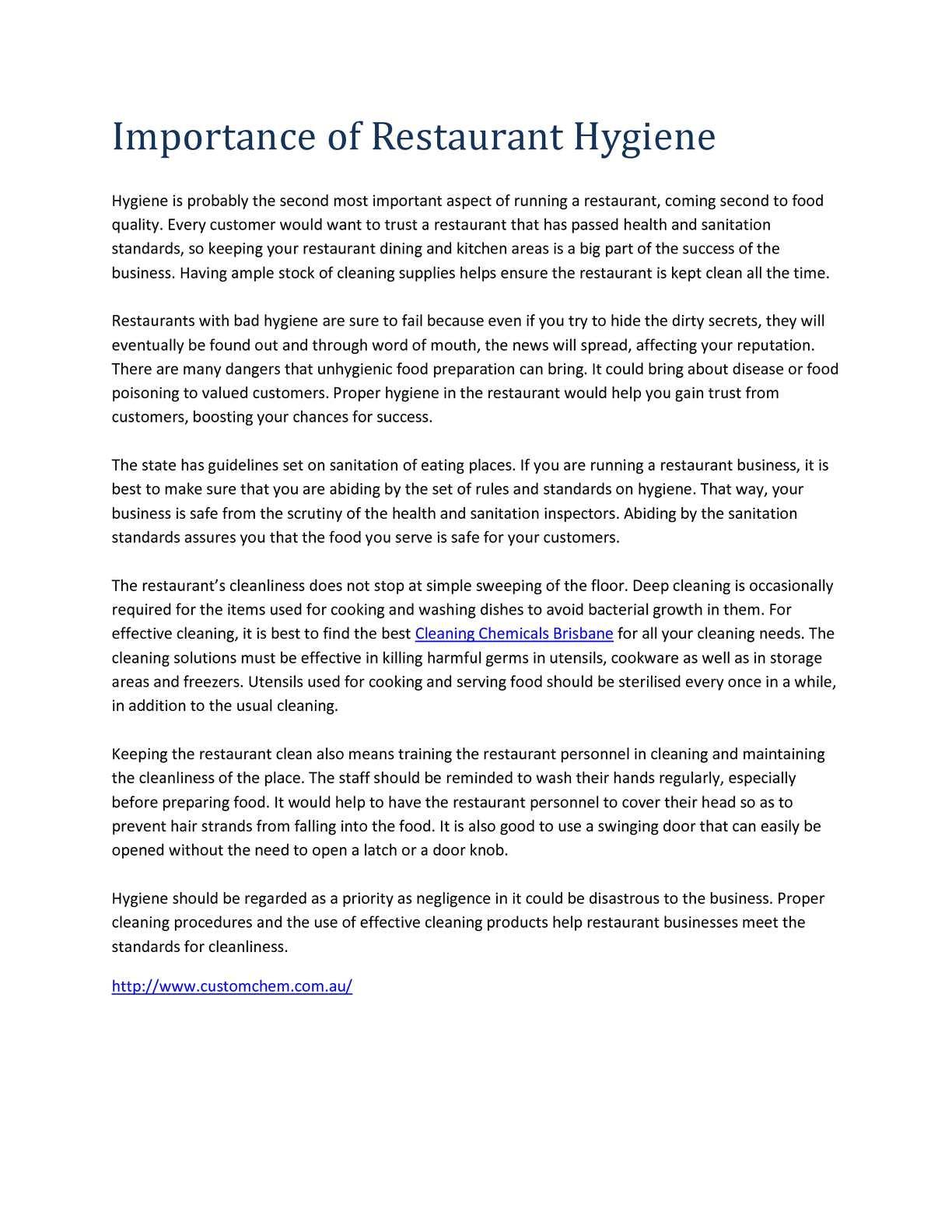 Admirable Calameo Importance Of Restaurant Hygiene Home Interior And Landscaping Dextoversignezvosmurscom