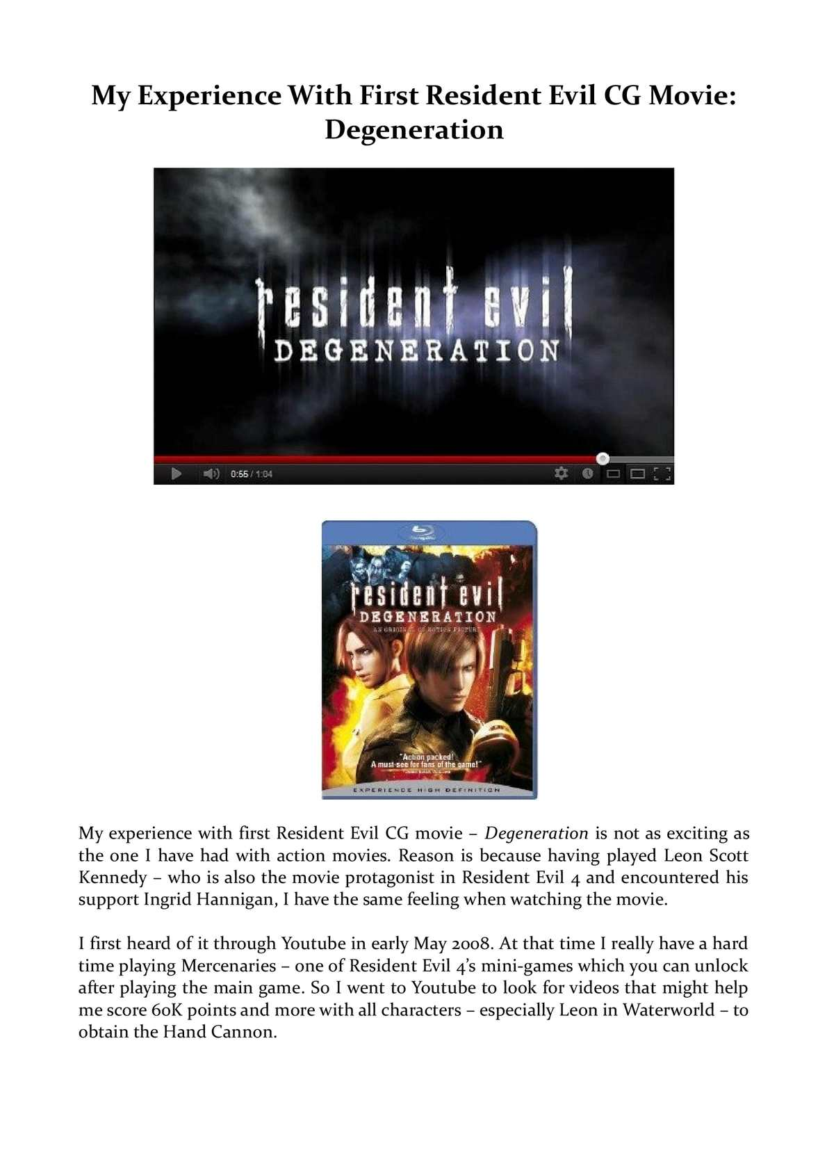 Calameo My Experience With First Resident Evil Cg Movie Degeneration