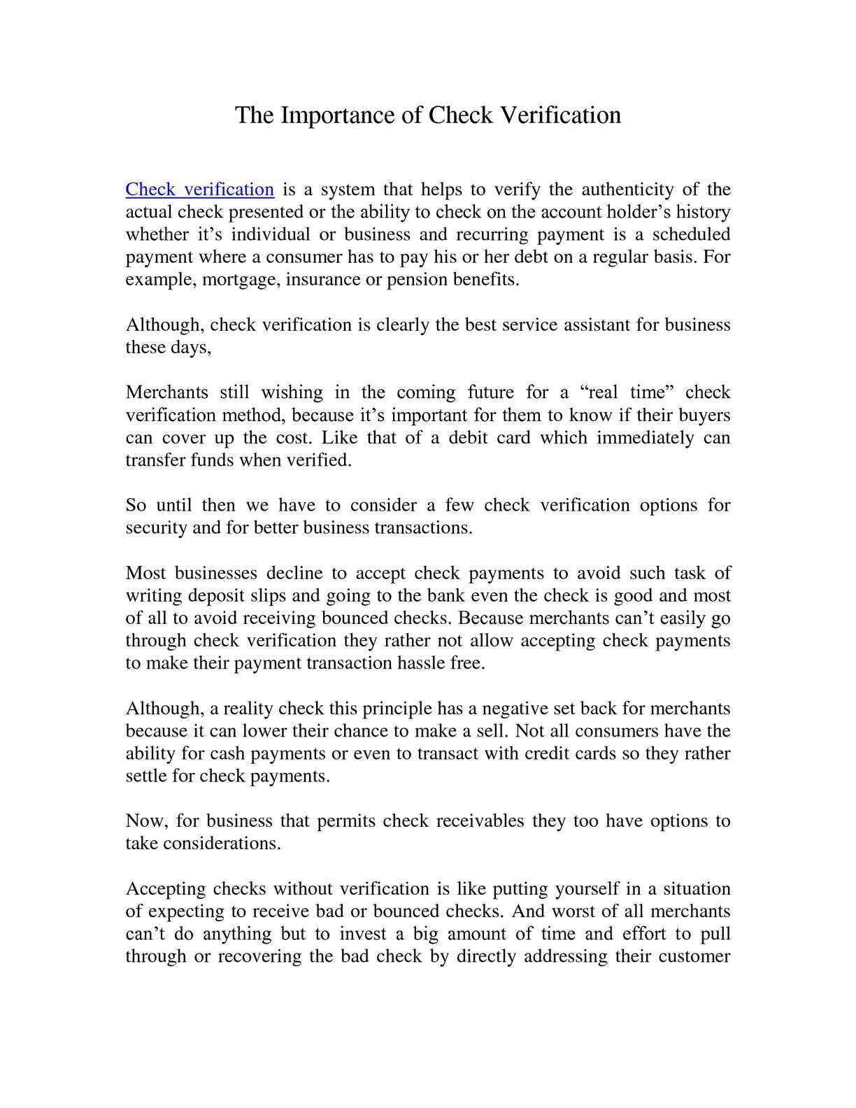 Calaméo - The Importance of Check Verification