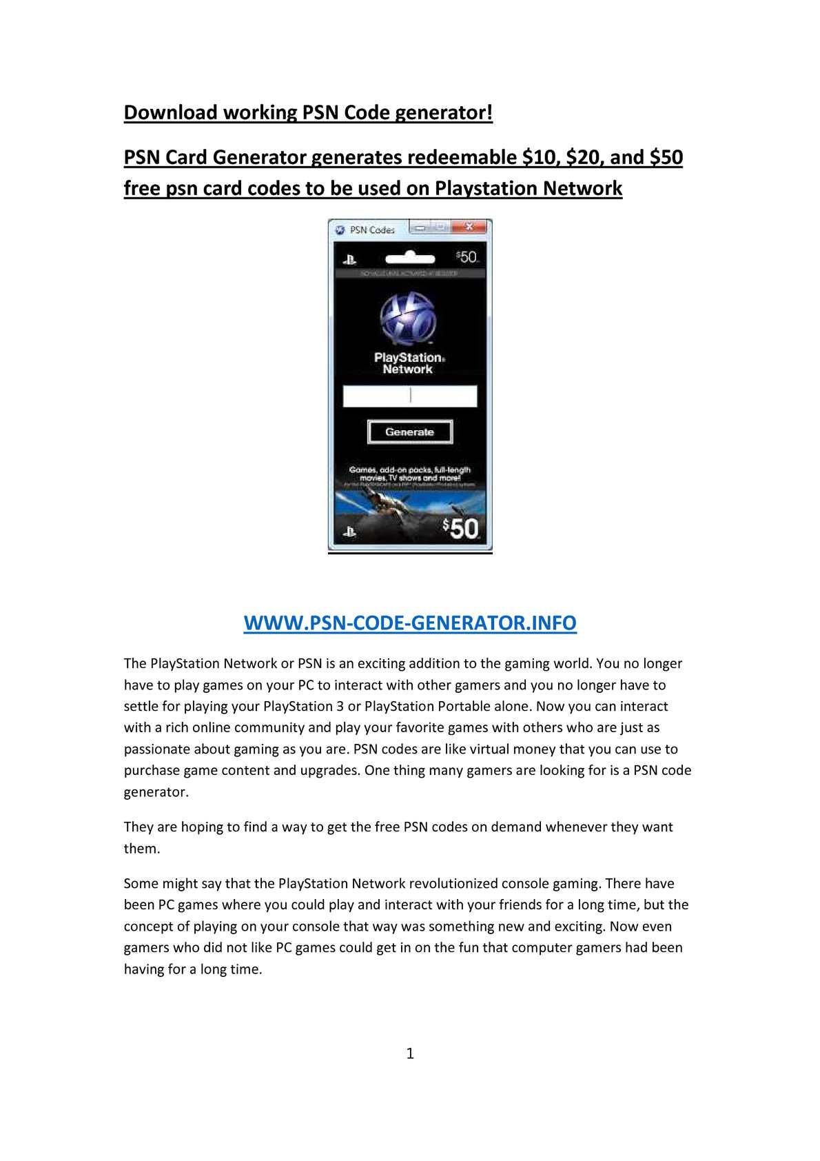 Calaméo - PSN-Code-Generator info - Download working PSN Code