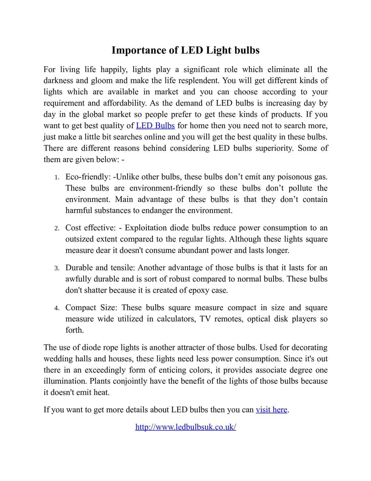 Calaméo - Importance of LED Light bulbs