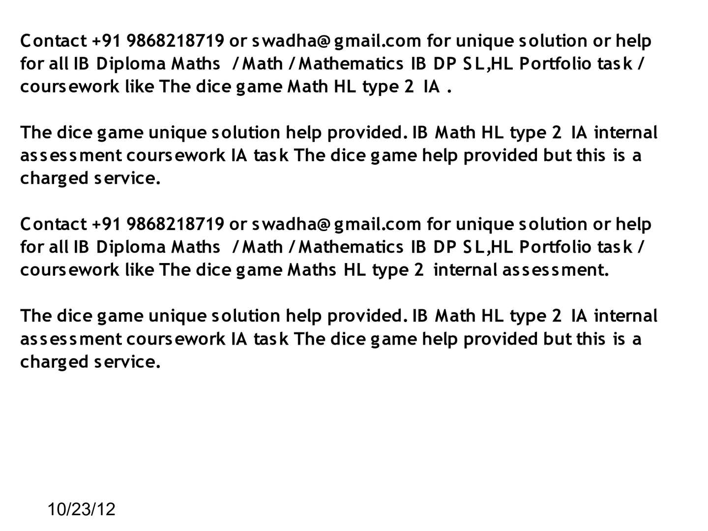 Ib mathematics hl coursework type ii – the dice game Coursework