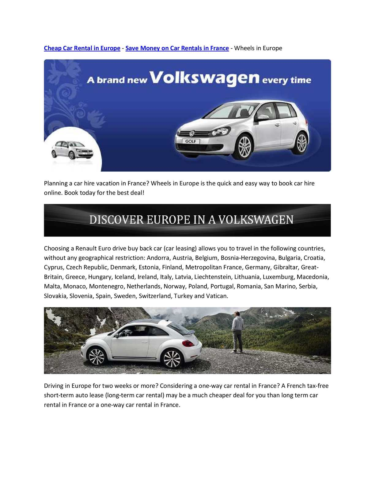 free one way car rental europe