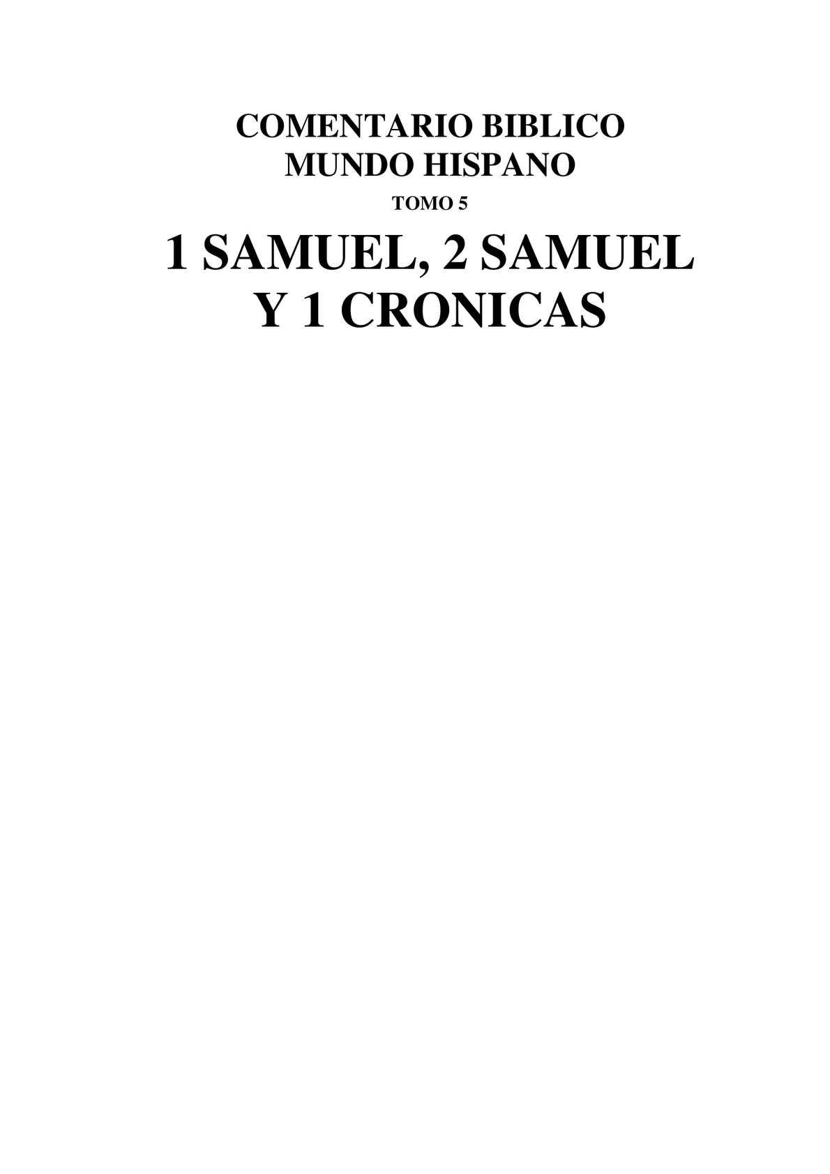Calaméo I Samuel Ii Samuel Y I De Crónicas Cbmh Tomo 5