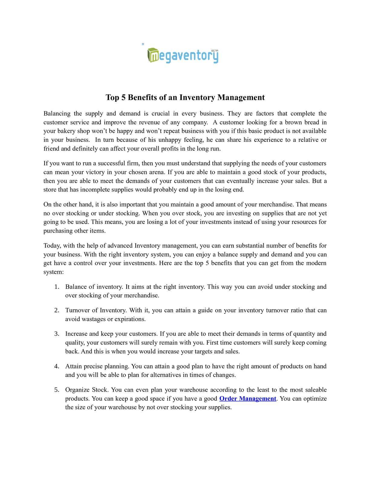 Calaméo - Top 5 Benefits of an Inventory Management