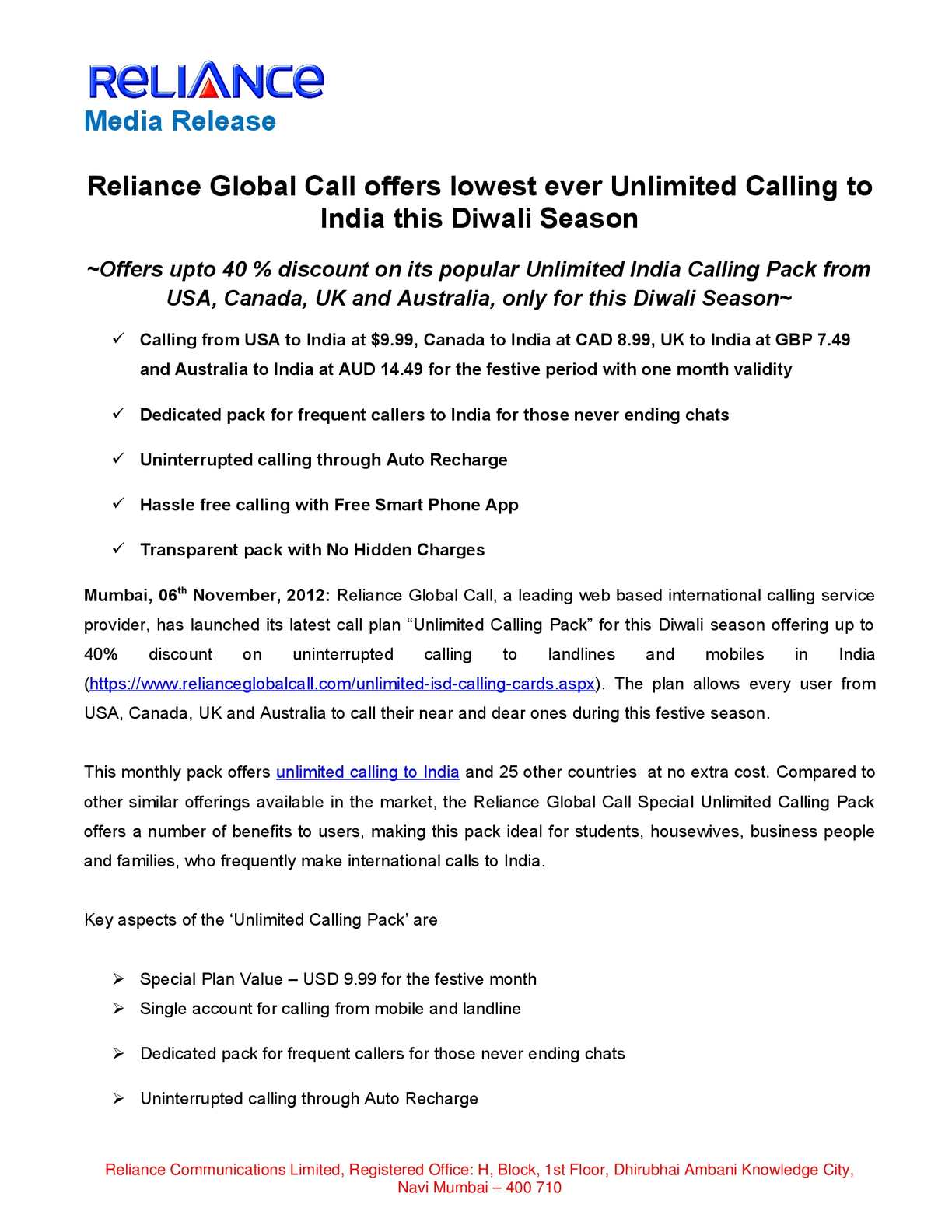 Calaméo - Reliance Global Call offers lowest ever Unlimited