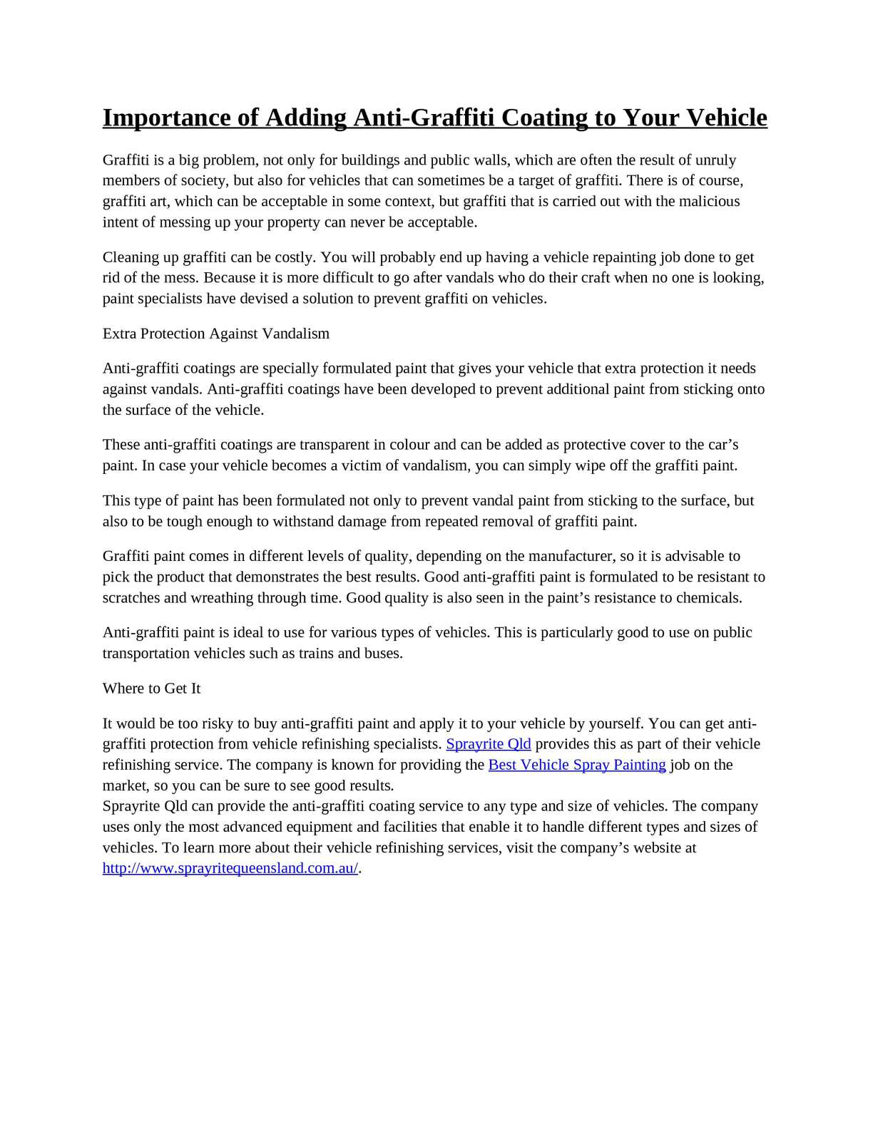 Calaméo - Importance of Adding Anti-Graffiti Coating to Your Vehicle