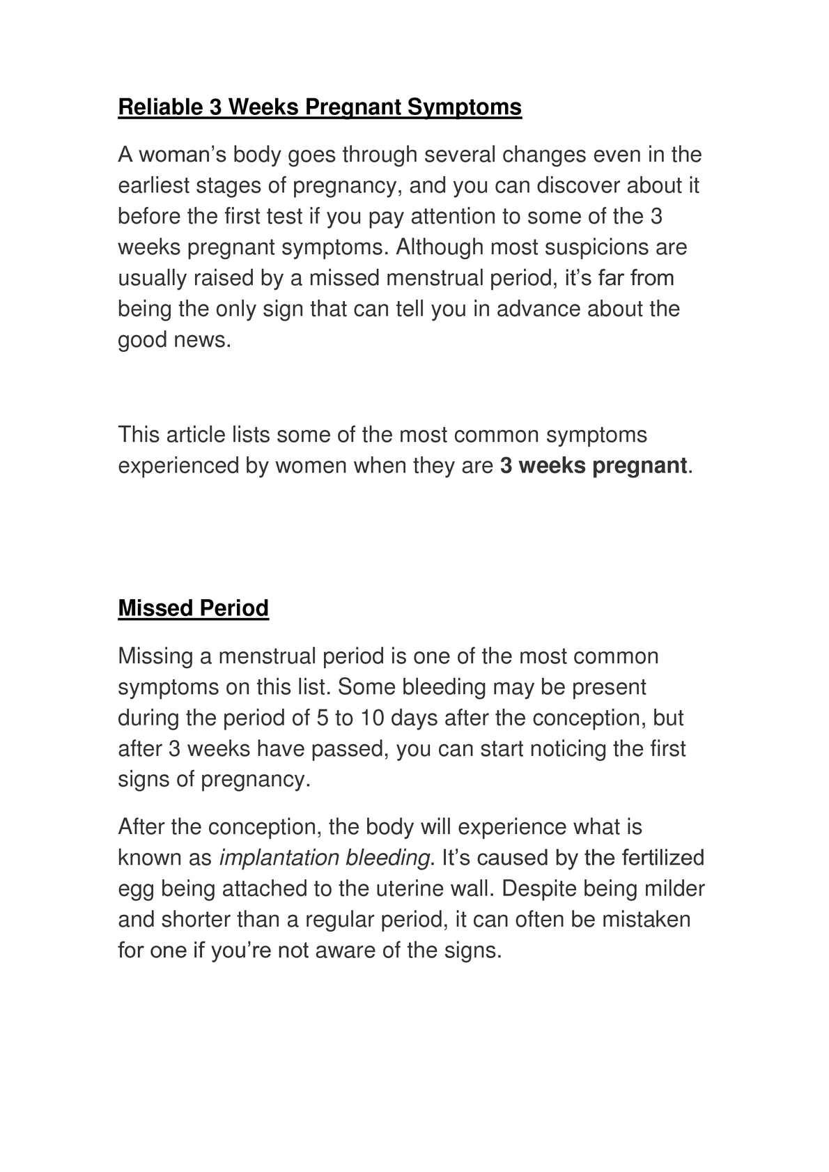 Calaméo - 3 Weeks Pregnant Symptoms