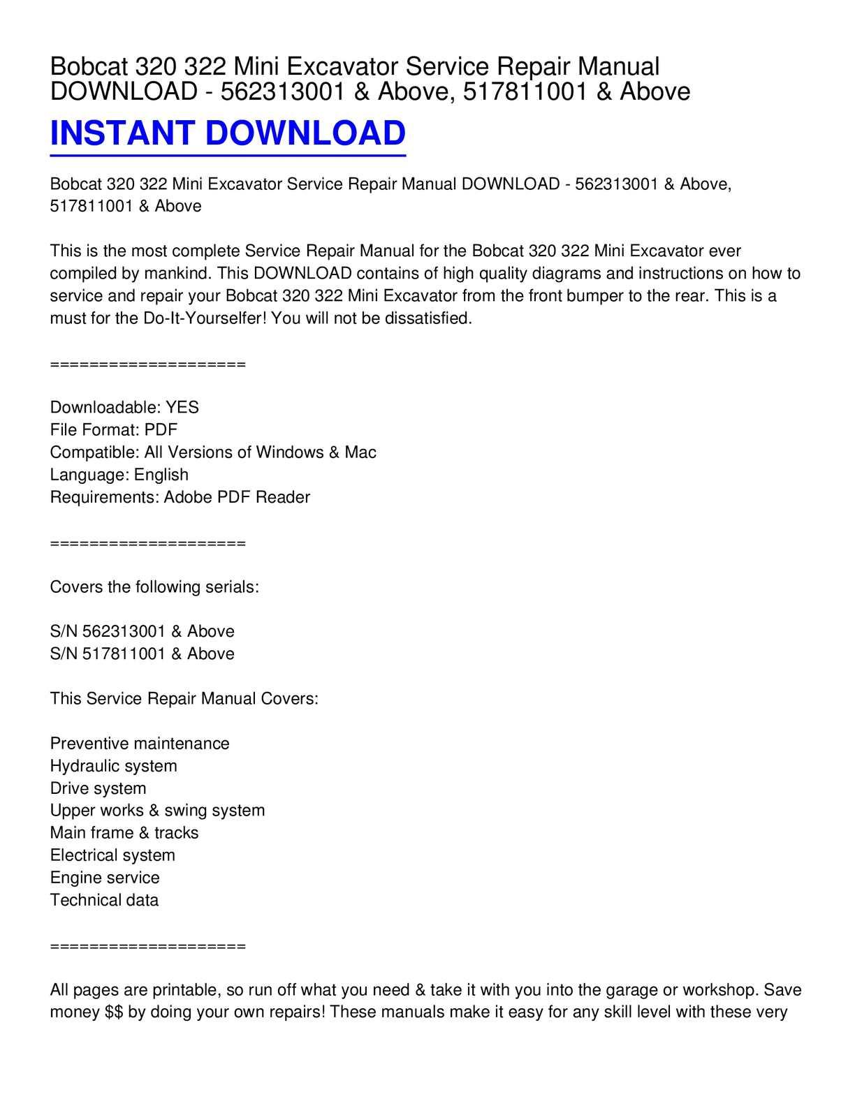 Calaméo - Bobcat 320 322 Mini Excavator Service Repair Manual DOWNLOAD -  562313001 & Above, 517811001 & Above