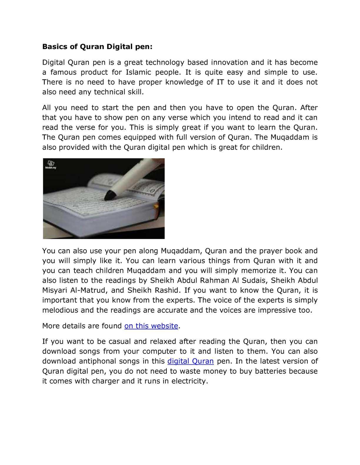 Calaméo - Basics of Quran Digital pen: