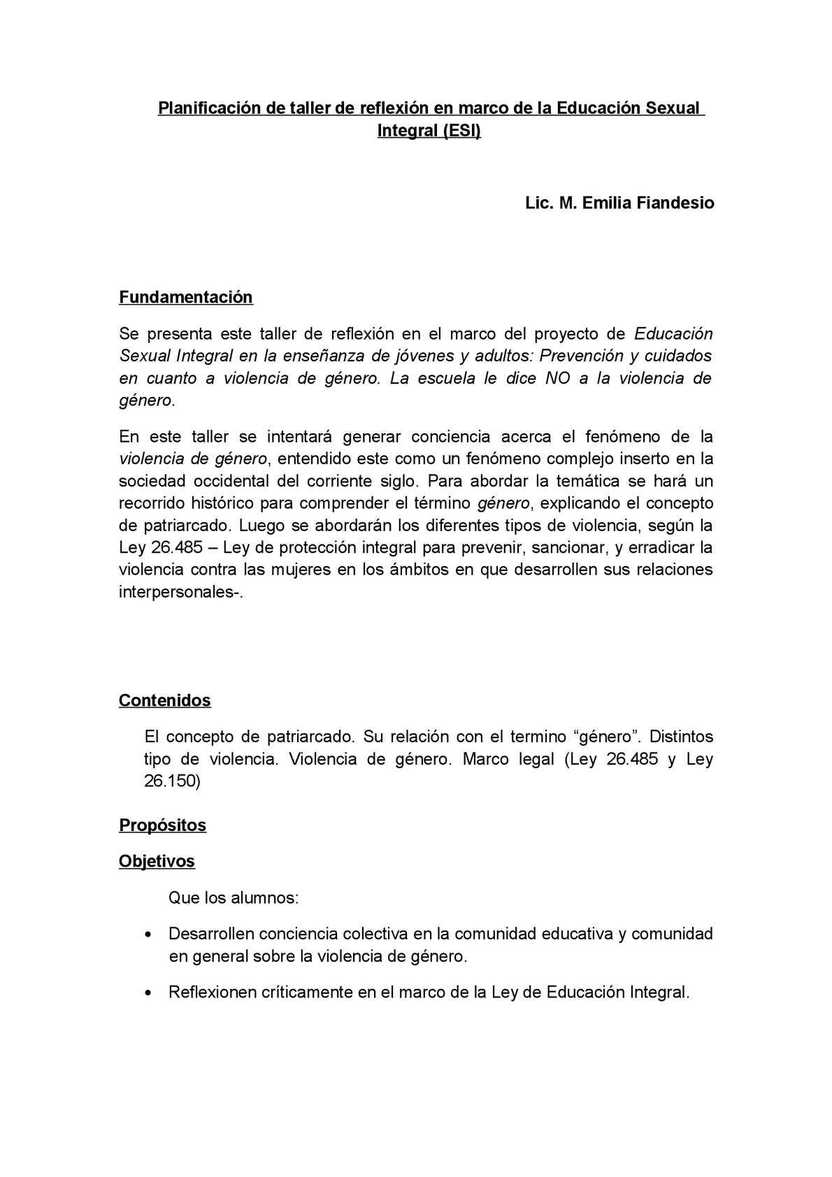 TALLERES DE VIOLENCIA DE GÉNERO