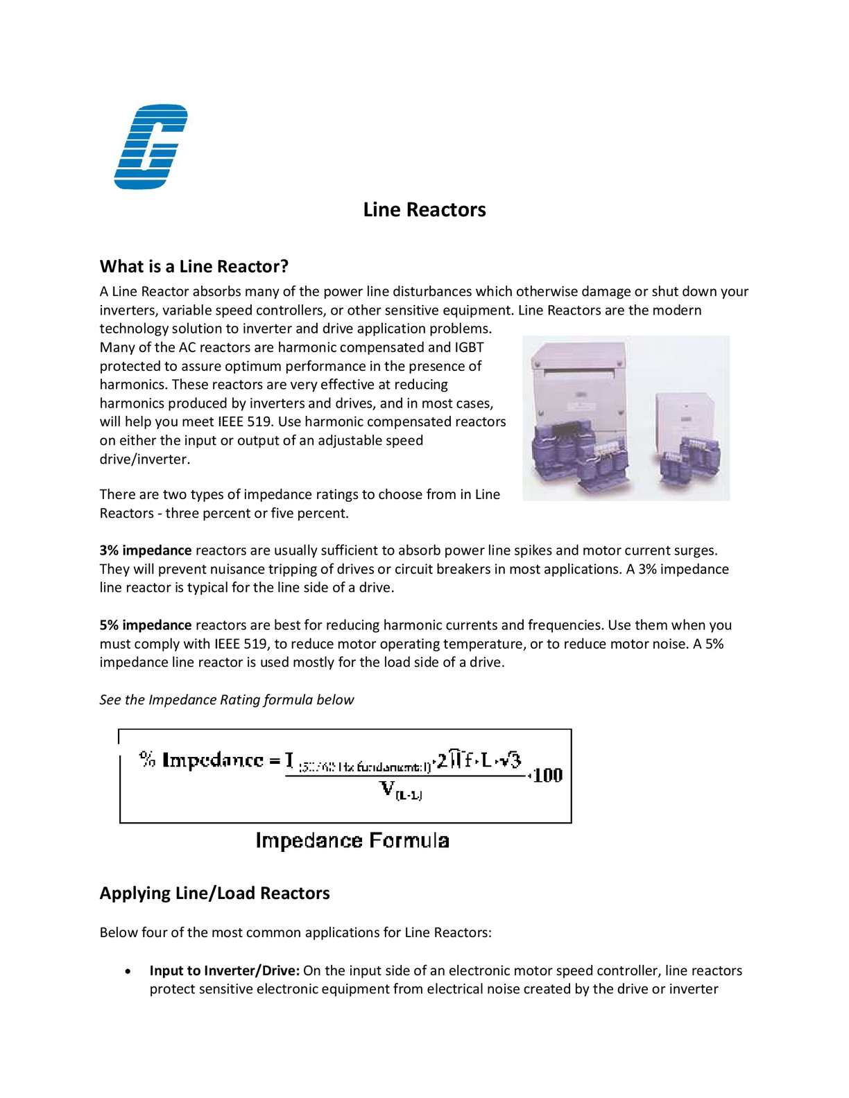 Calaméo - Line Reactors - How To Apply A Load and Line Reactor