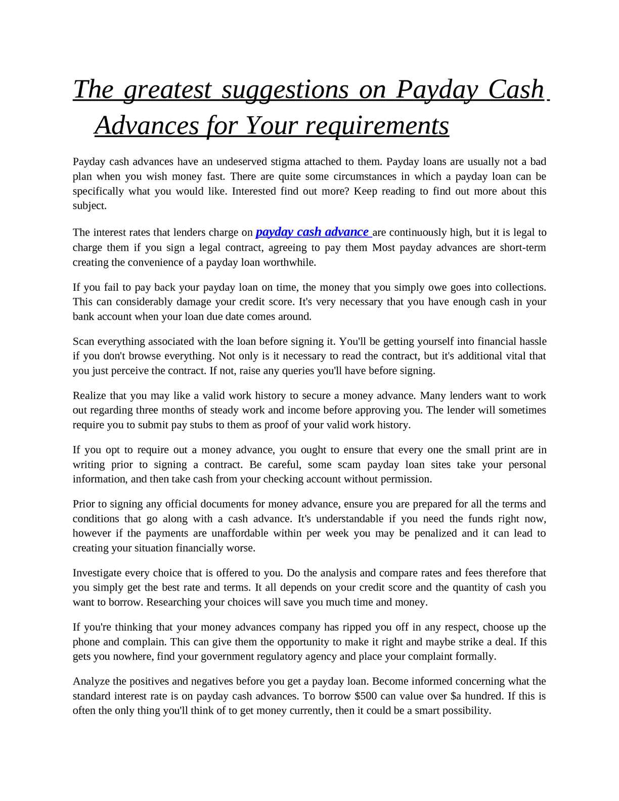 Only Read This If Youre Prepared To >> Calameo The Greatest Suggestions On Payday Cash Advances For Your