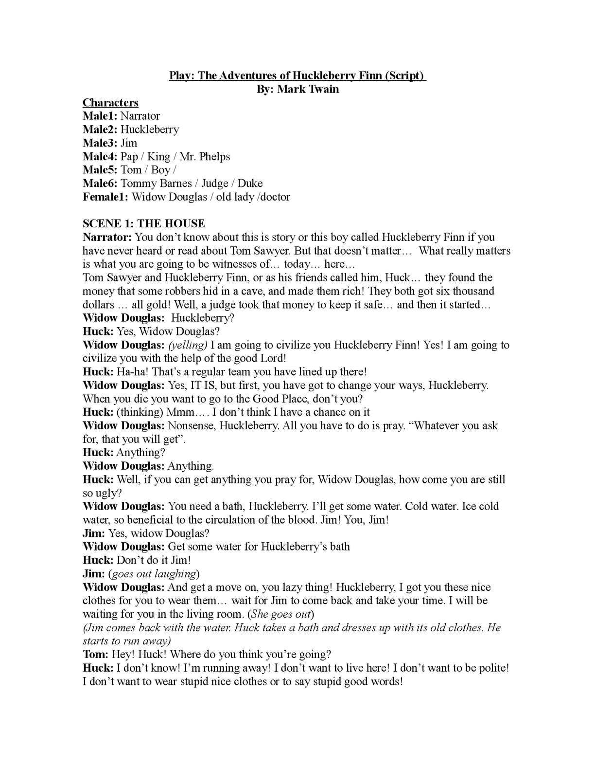 Calaméo - Play Script: The adventures of Huckleberry Finn