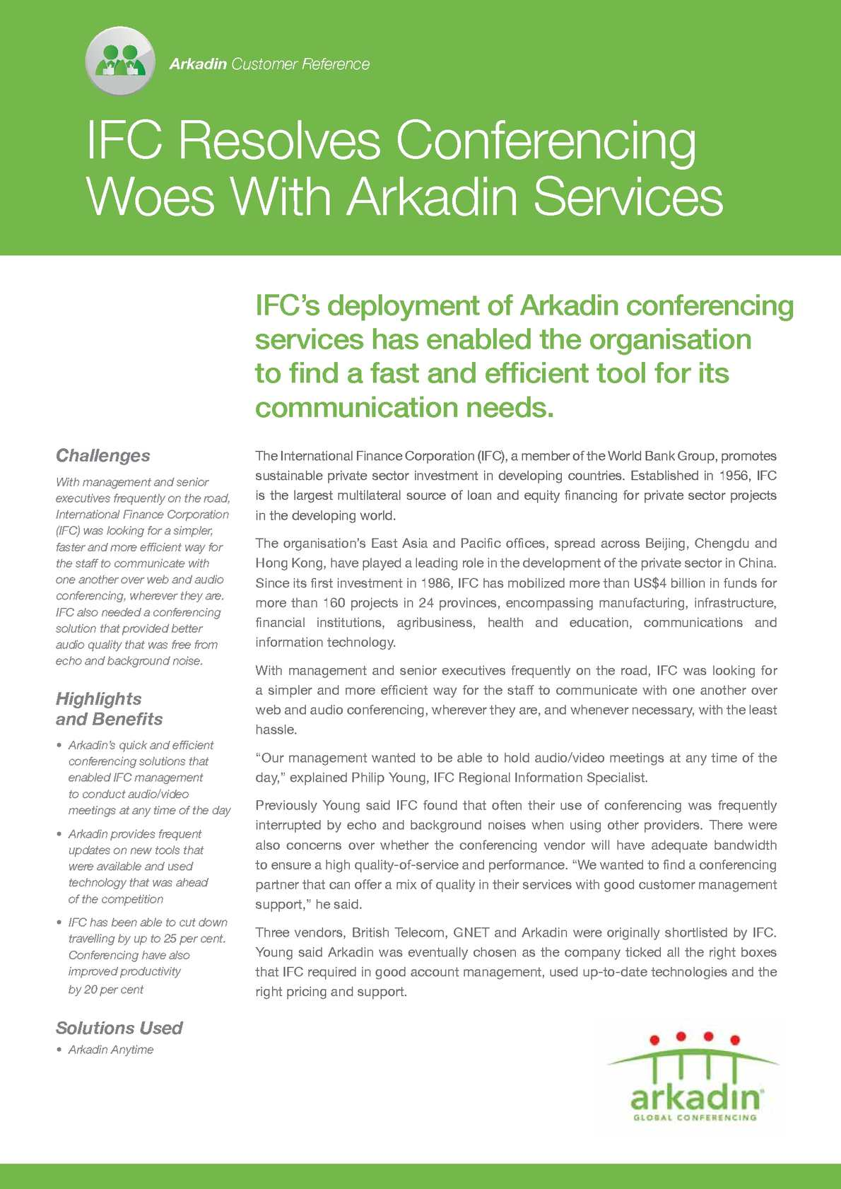 Calaméo - [Case Study] Arkadin conferencing services role in fast