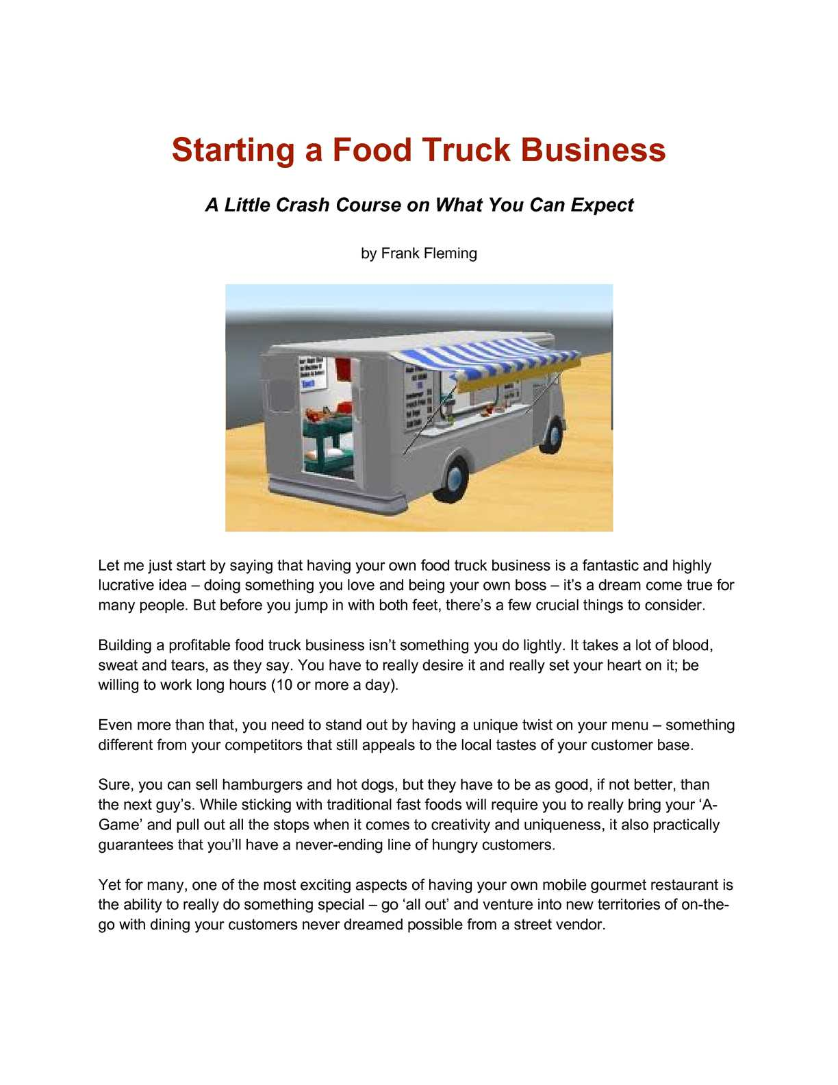 Calaméo How To Start A Food Truck Business In Just 24 Weeks