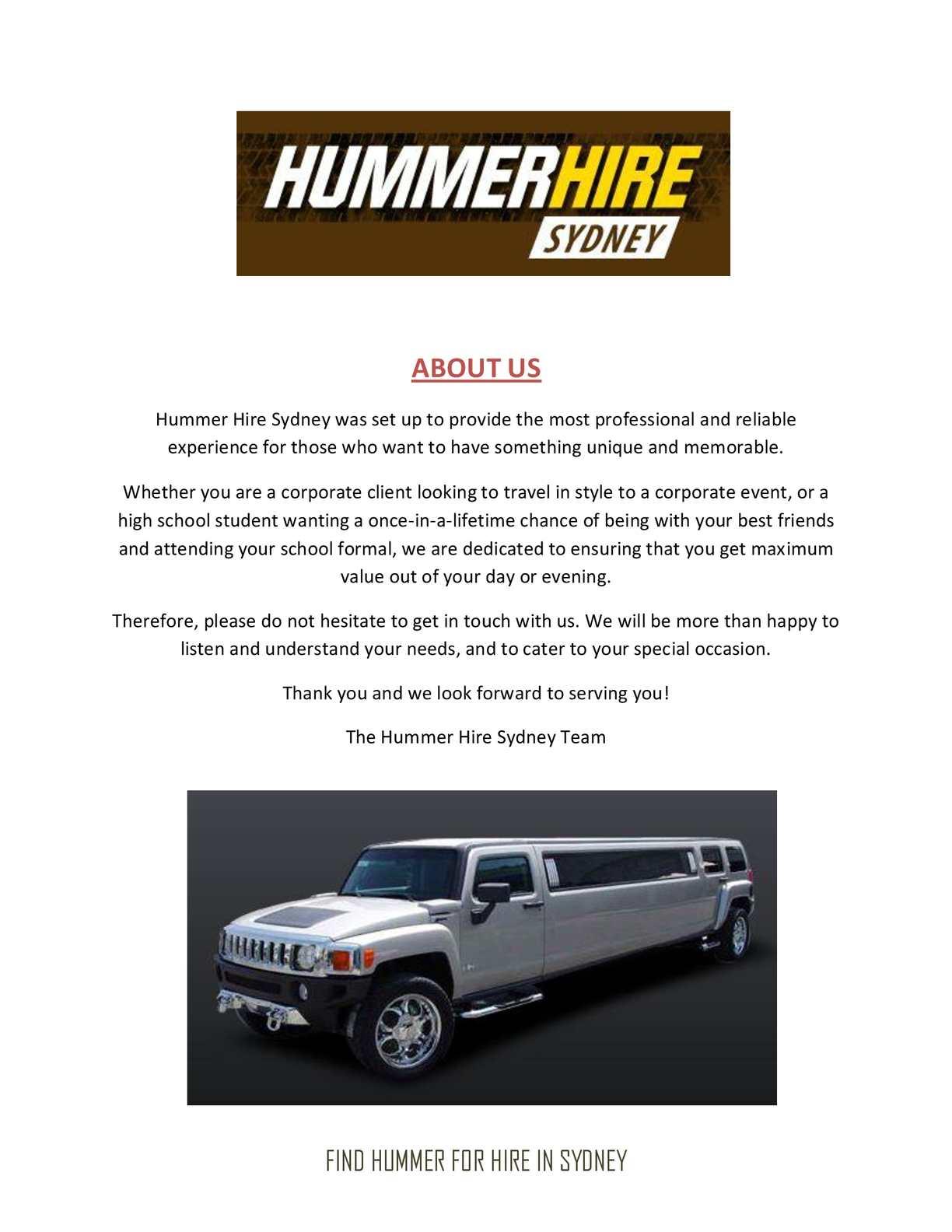 Calaméo - Stretch Hummer Hire Sydney | stretch hummer hire sydney prices