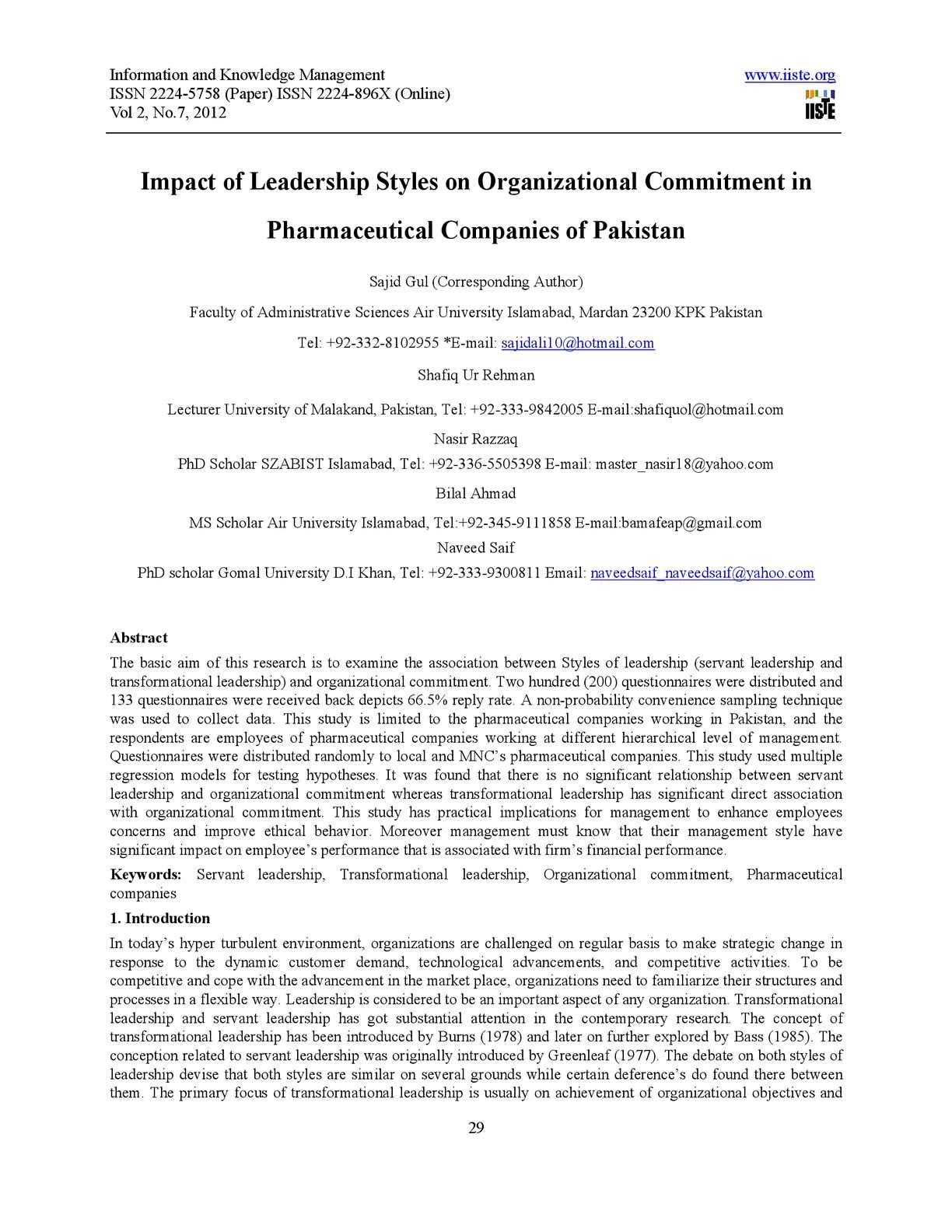 Calaméo - Impact of Leadership Styles on Organizational