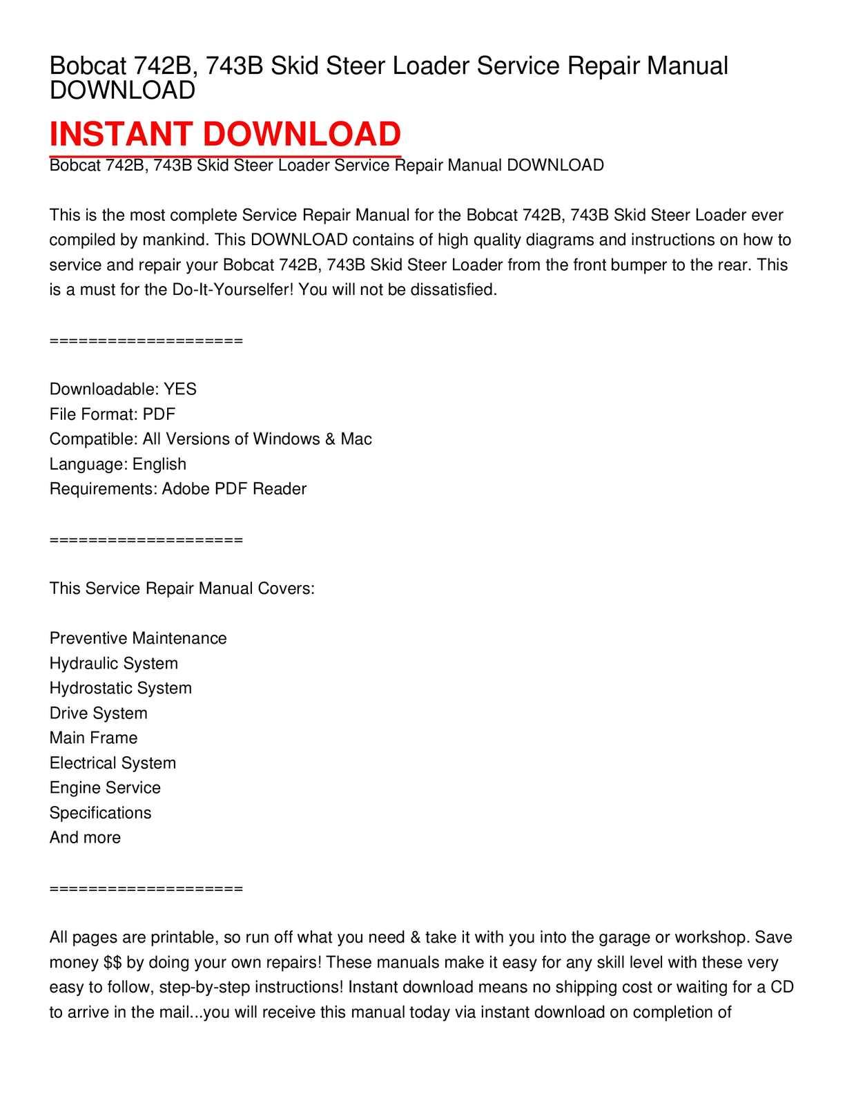 Calaméo - Bobcat 742B, 743B Skid Steer Loader Service Repair Manual DOWNLOAD
