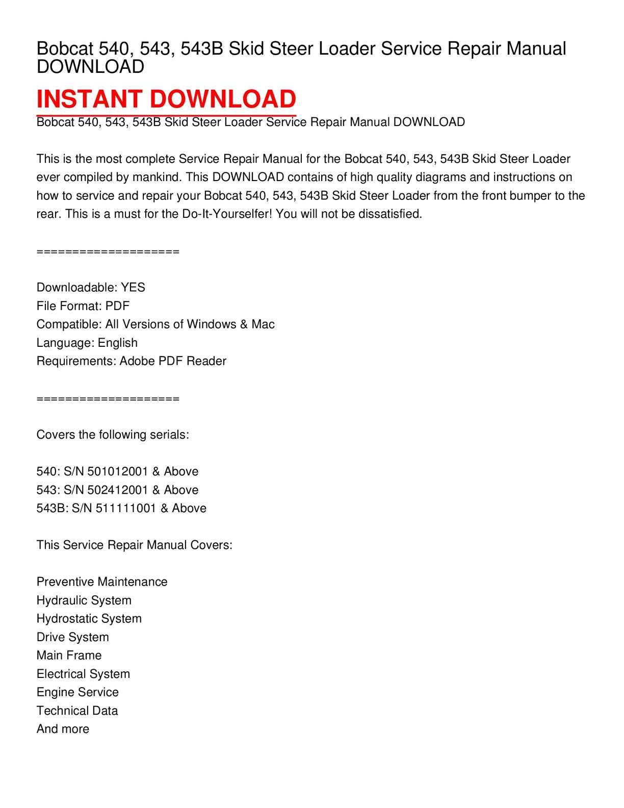 bobcat 540, 543, 543b skid steer loader service repair manual download