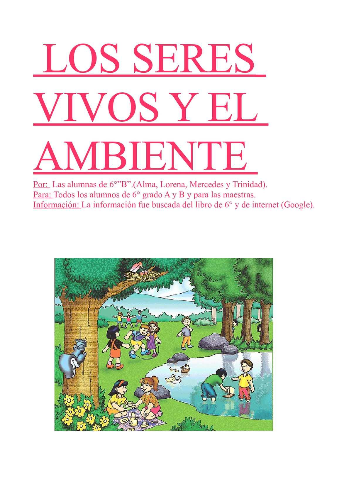 """Calaméo - Grupo 1: Los seres vivos y el ambiente. (6°""""B"""