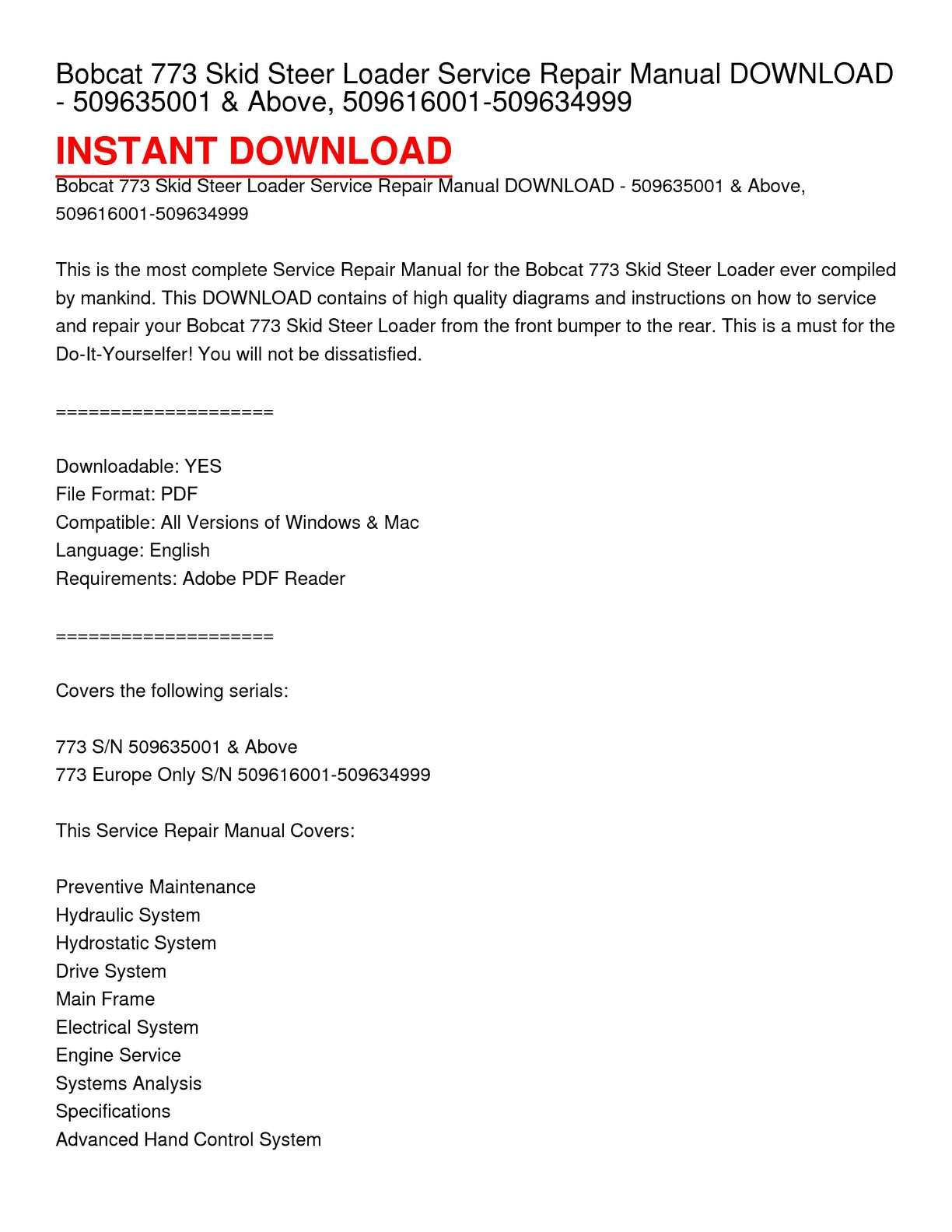 Calaméo - Bobcat 773 Skid Steer Loader Service Repair Manual DOWNLOAD -  509635001 & Above, 509616001-509634999
