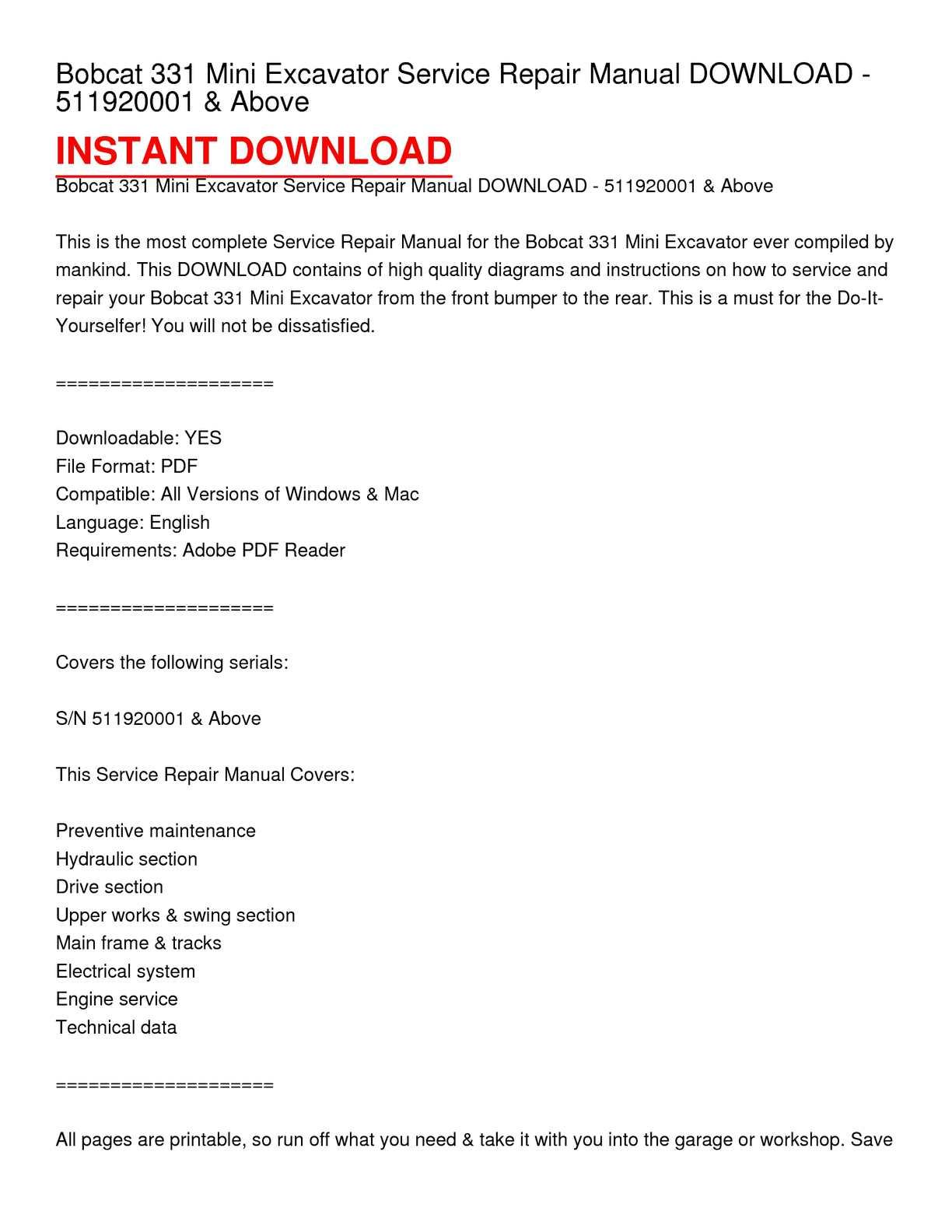 Calaméo - Bobcat 331 Mini Excavator Service Repair Manual DOWNLOAD -  511920001 & Above