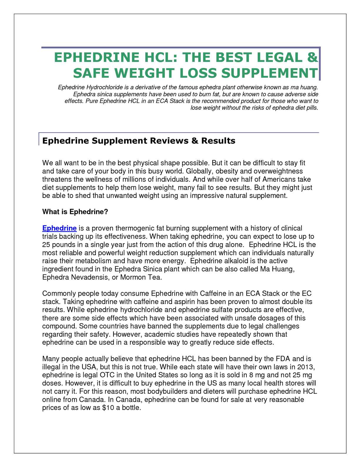Calaméo - EPHEDRINE HCL: THE BEST LEGAL & SAFE WEIGHT LOSS SUPPLEMENT