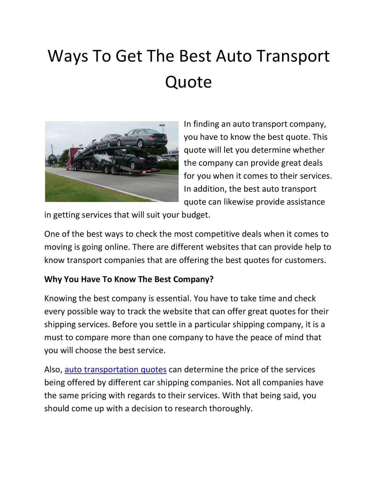 Calaméo - Why to Look for the Best Auto Transport Quotes