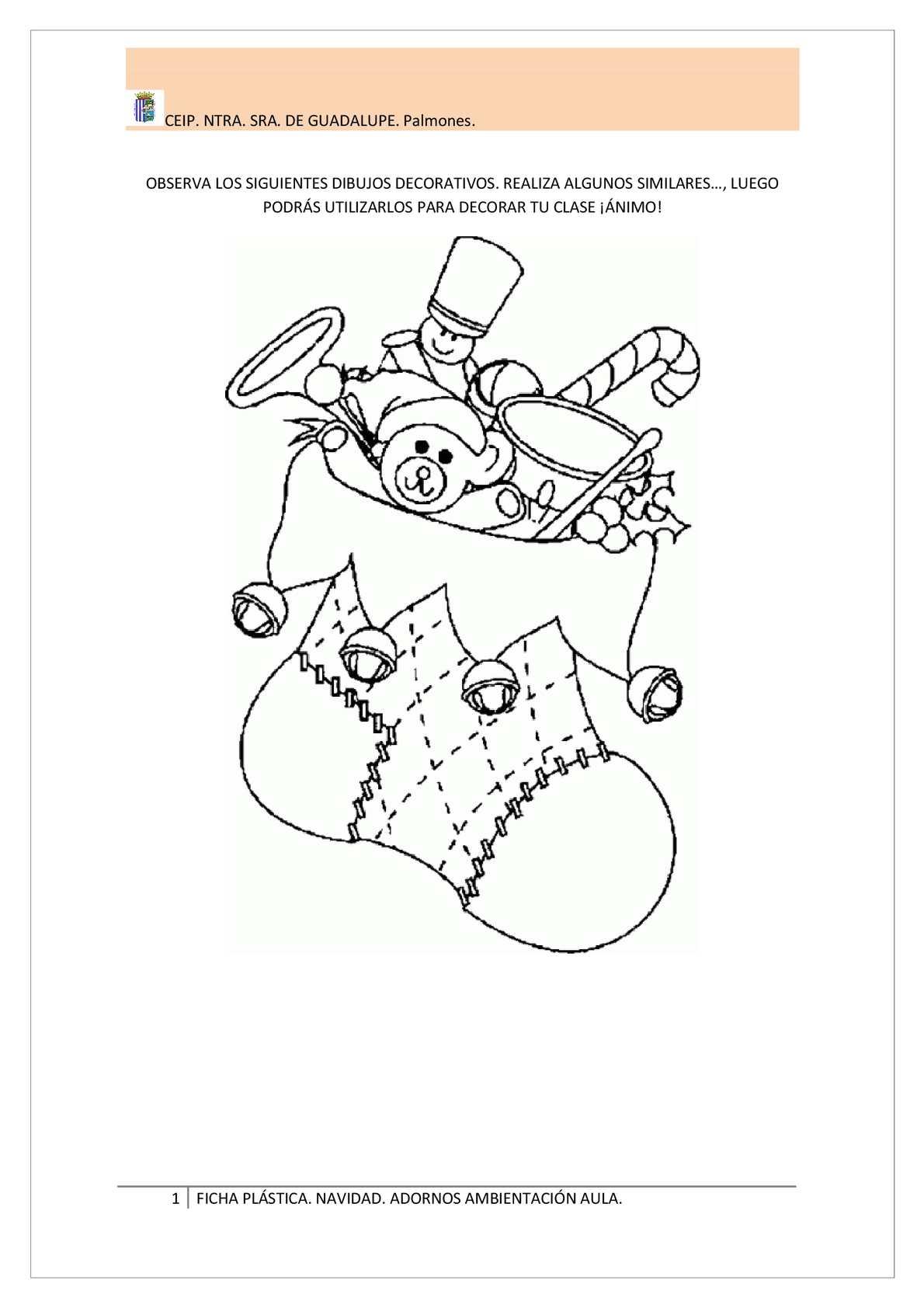 Dibujos De Navidad Para Decorar La Clase.Calameo Ficha Plastica Navidad Educacion Primaria