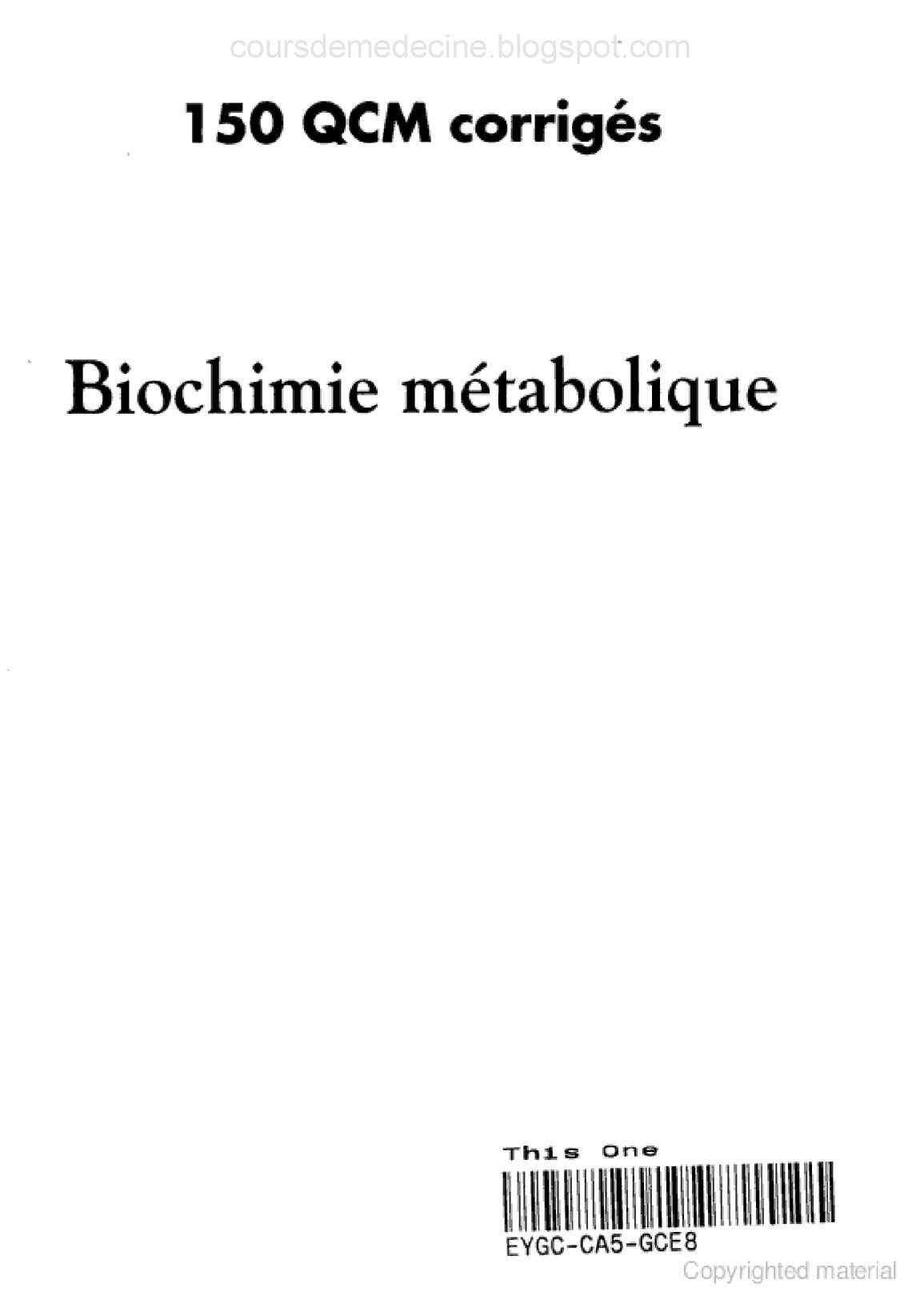 QCM TÉLÉCHARGER 150 CORRIGÉS MÉTABOLIQUE BIOCHIMIE