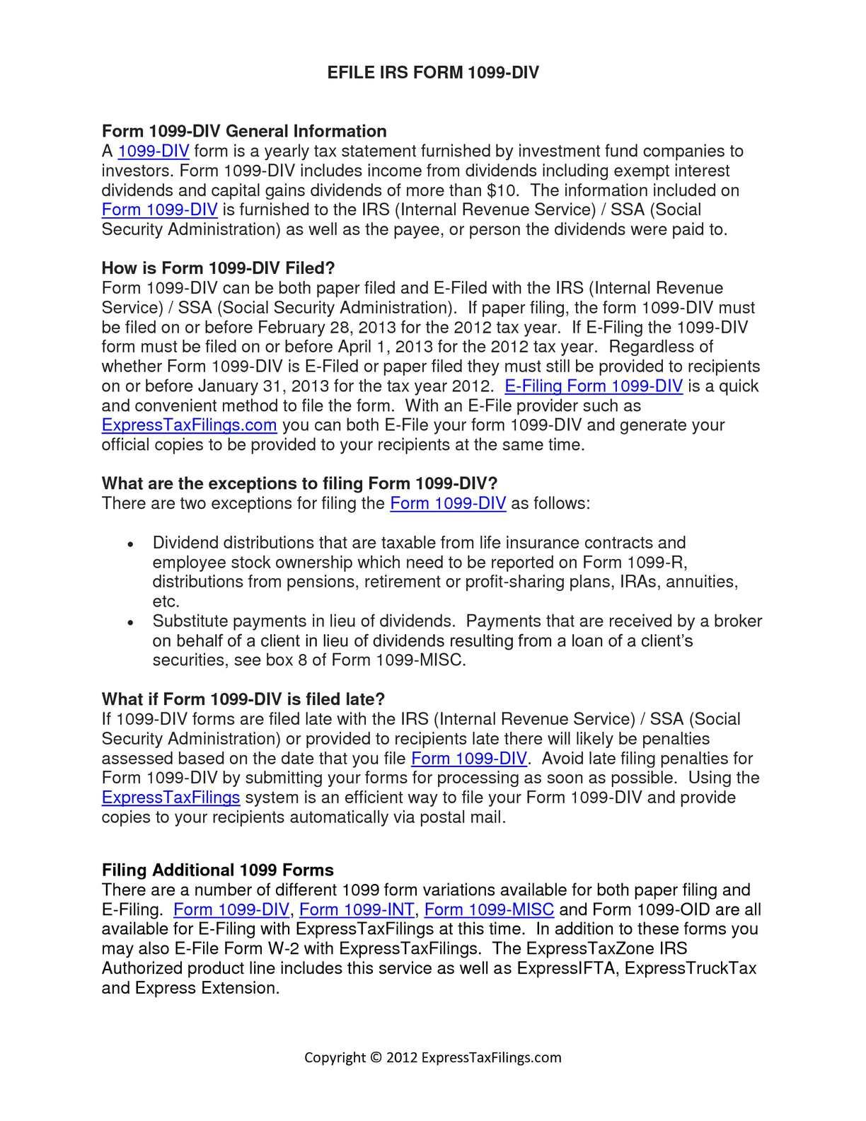 Calaméo - Efile 1099 DIV to IRS | Form 1099 DIV | Dividents