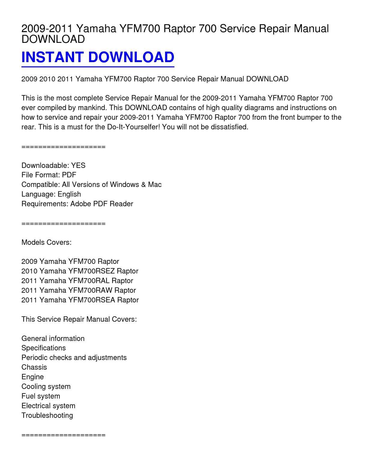 2009-2011 yamaha yfm700 raptor 700 service repair manual download