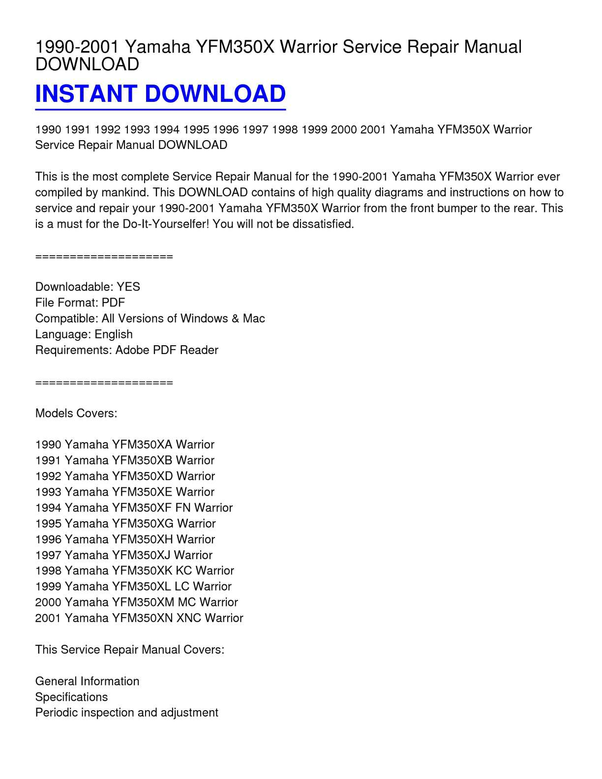 ... Array - calam o 1990 2001 yamaha yfm350x warrior service repair manual  rh calameo com