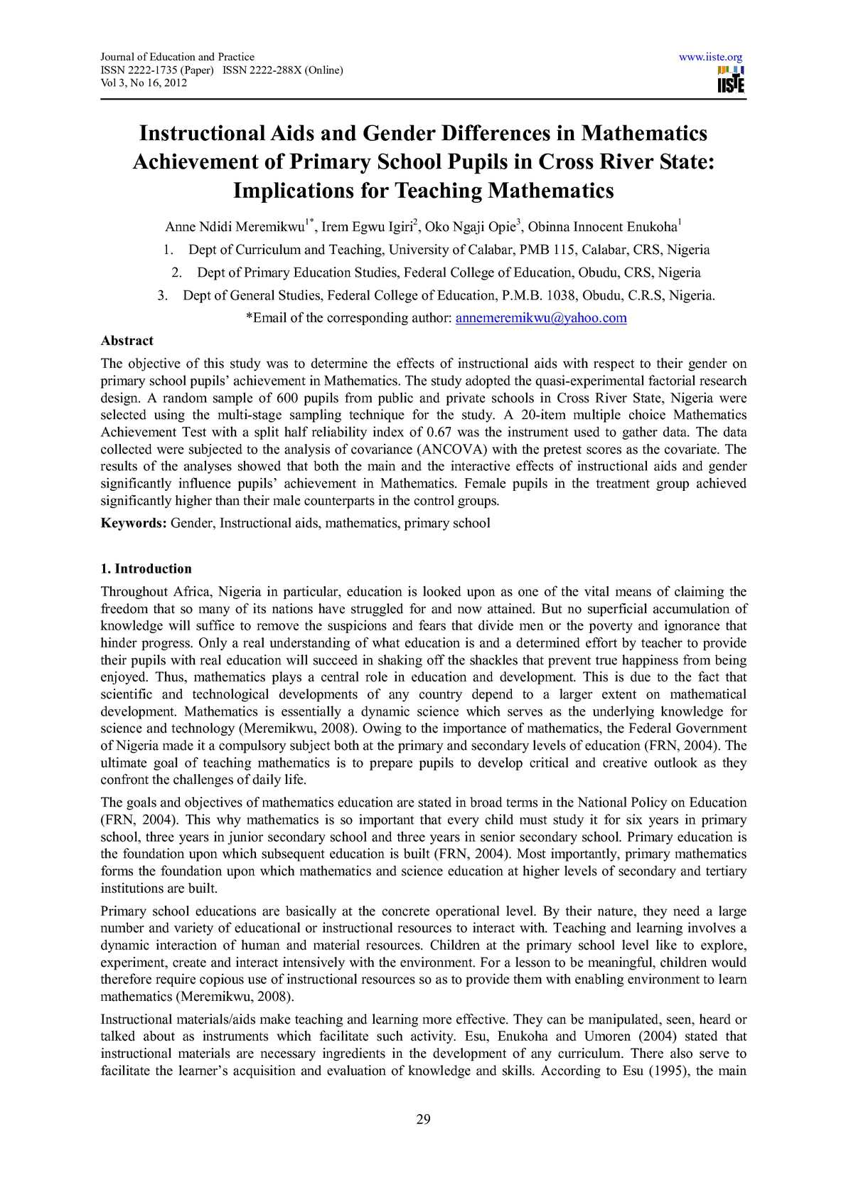 Calaméo - Instructional Aids and Gender Differences in Mathematics