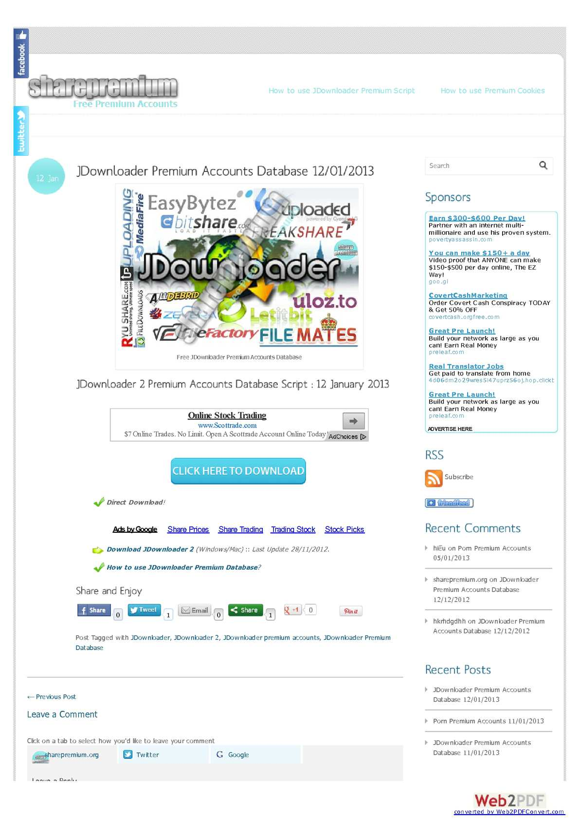 Calaméo - JDownloader Premium Accounts Database 12012013