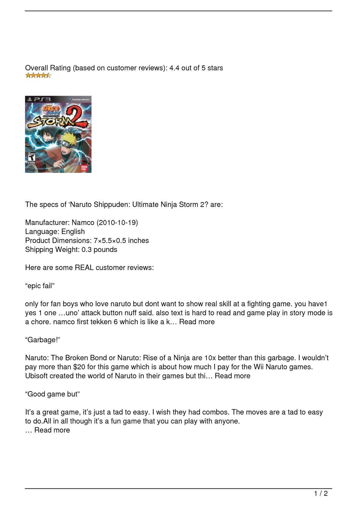 Calaméo - Naruto Shippuden: Ultimate Ninja Storm 2 Review